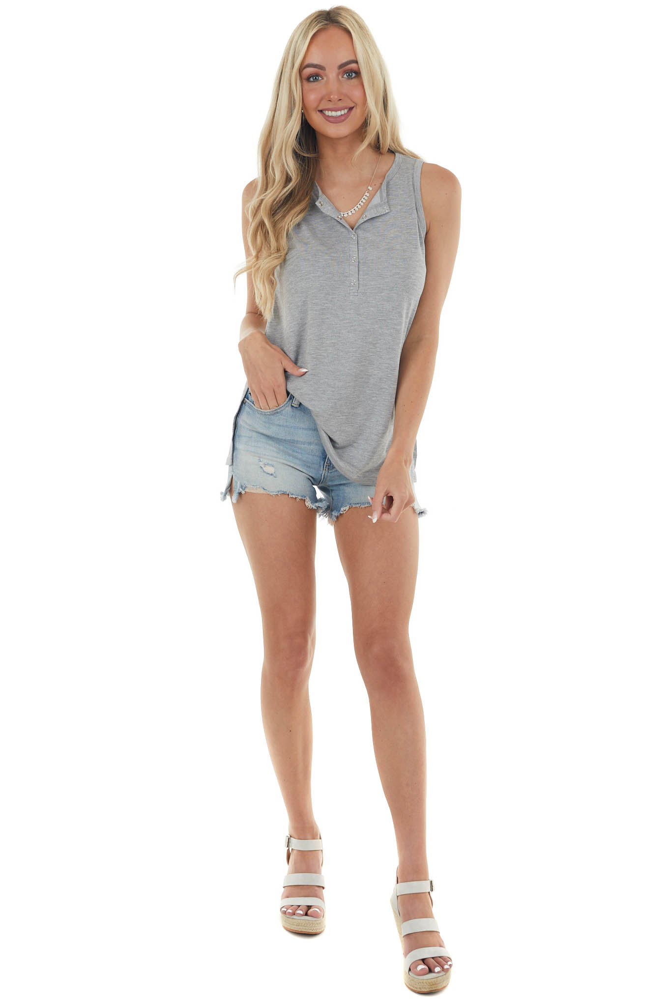 Heathered Steel Snap Button Up Knit Tank Top