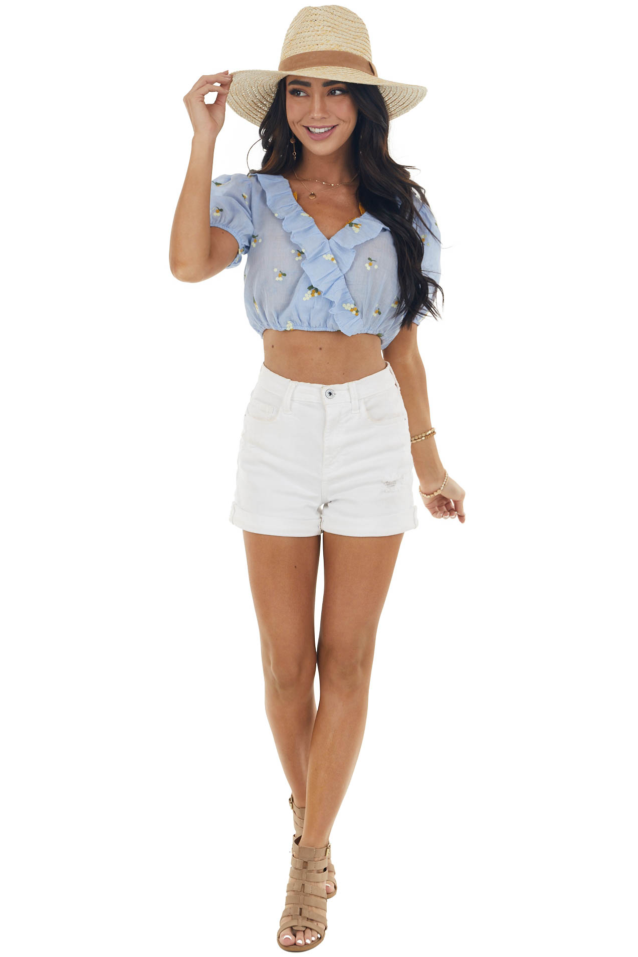 Slate Pinstripe Floral Embroidered Cropped Top