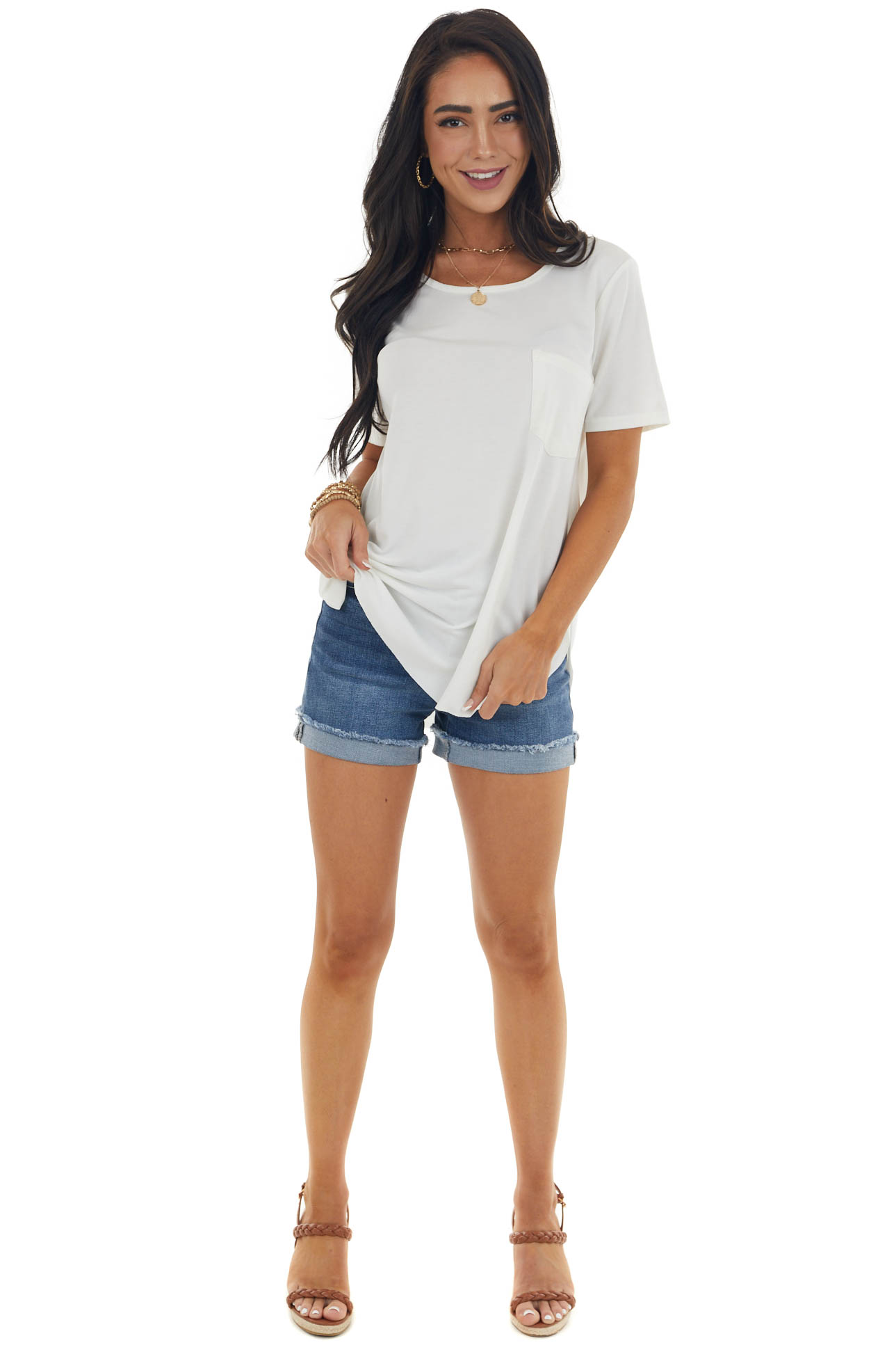 Ivory Flowy Knit Top with Single Chest Pocket