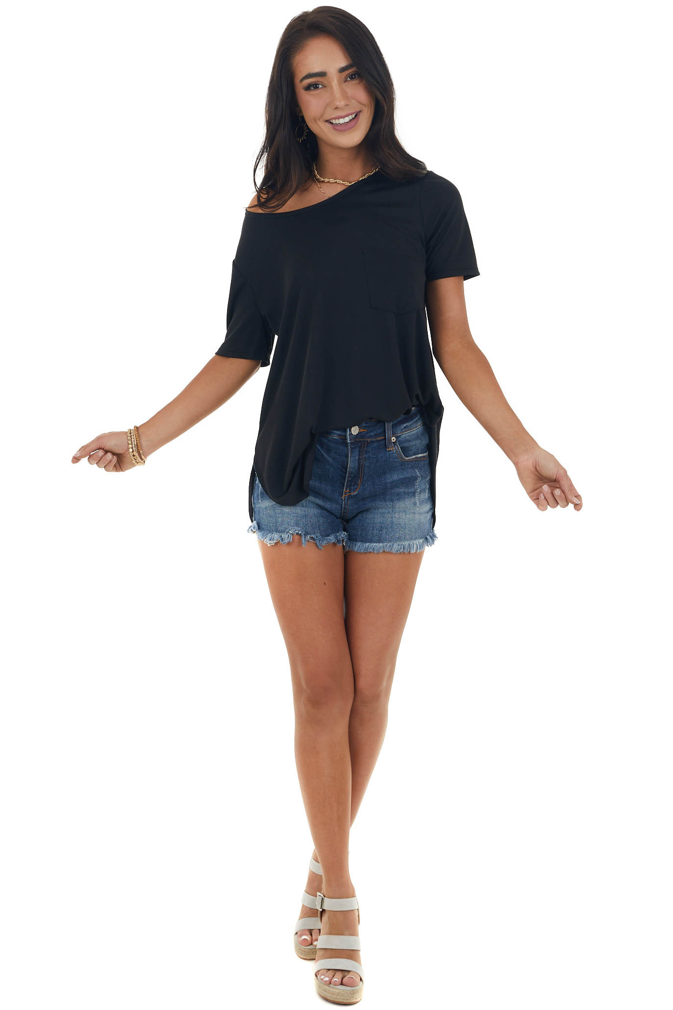 Black Flowy Knit Top with Single Chest Pocket