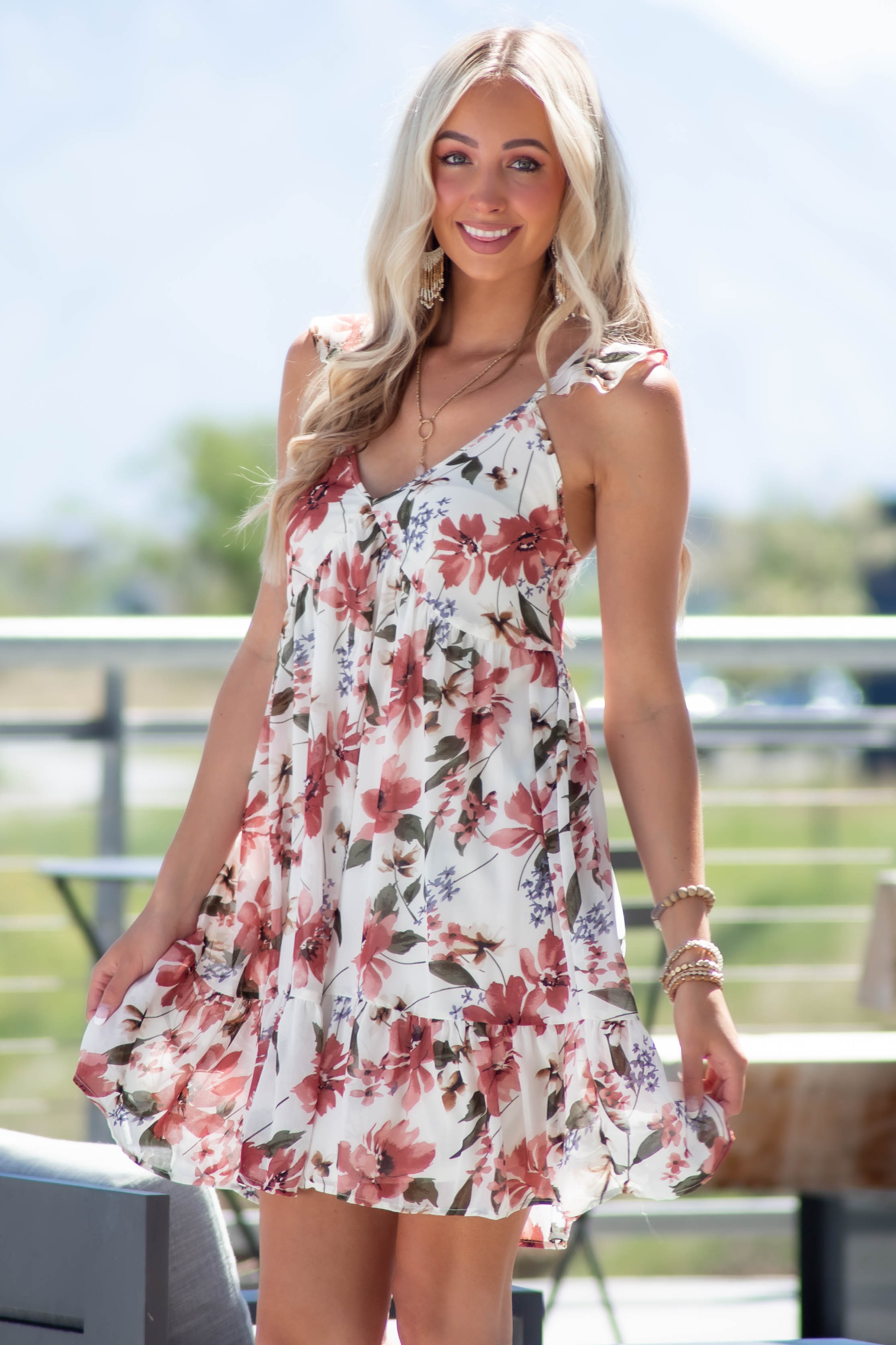 Off White and Punch Floral Print Mini Dress