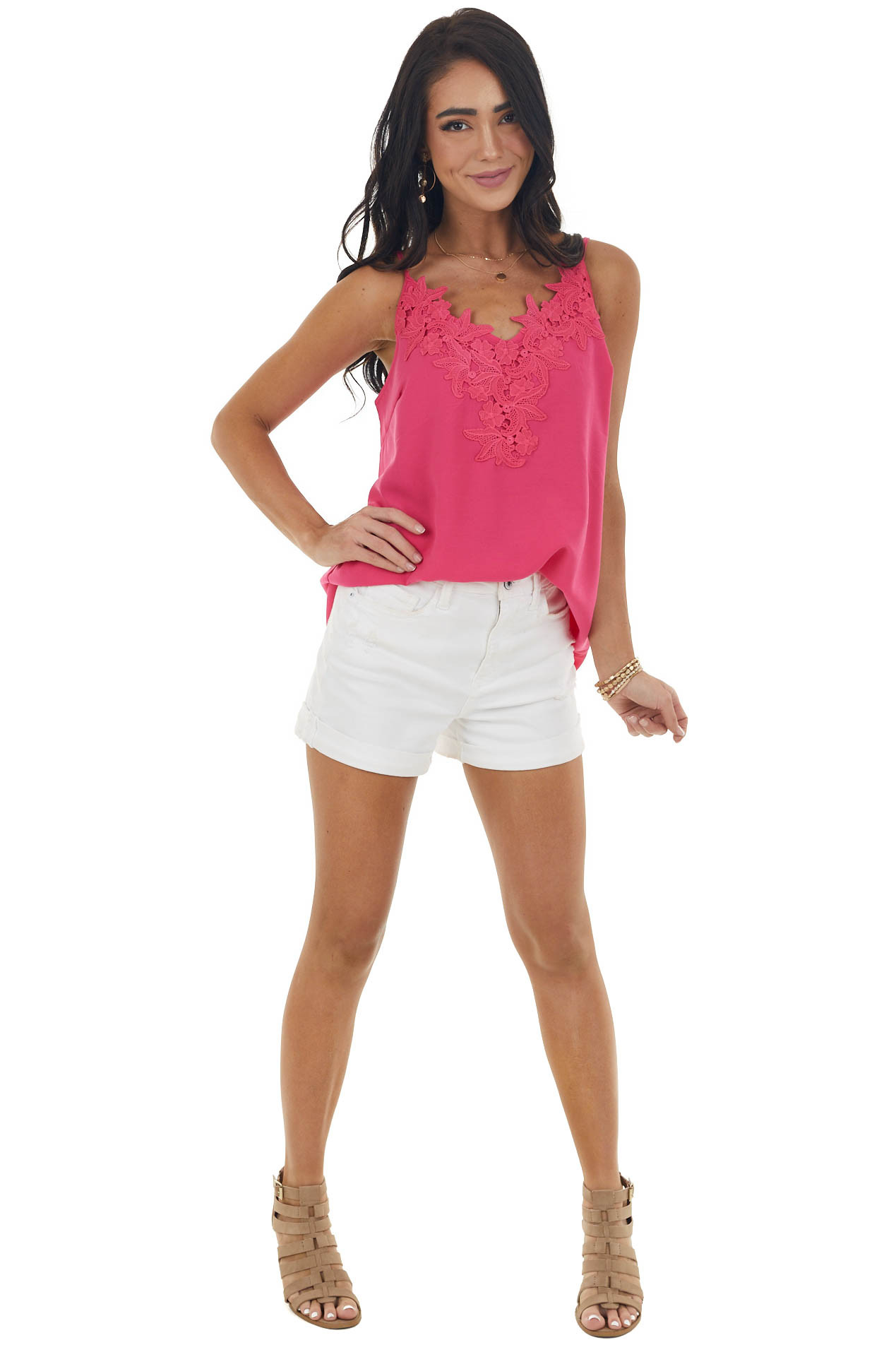 Raspberry Tank Top with Lace Detail