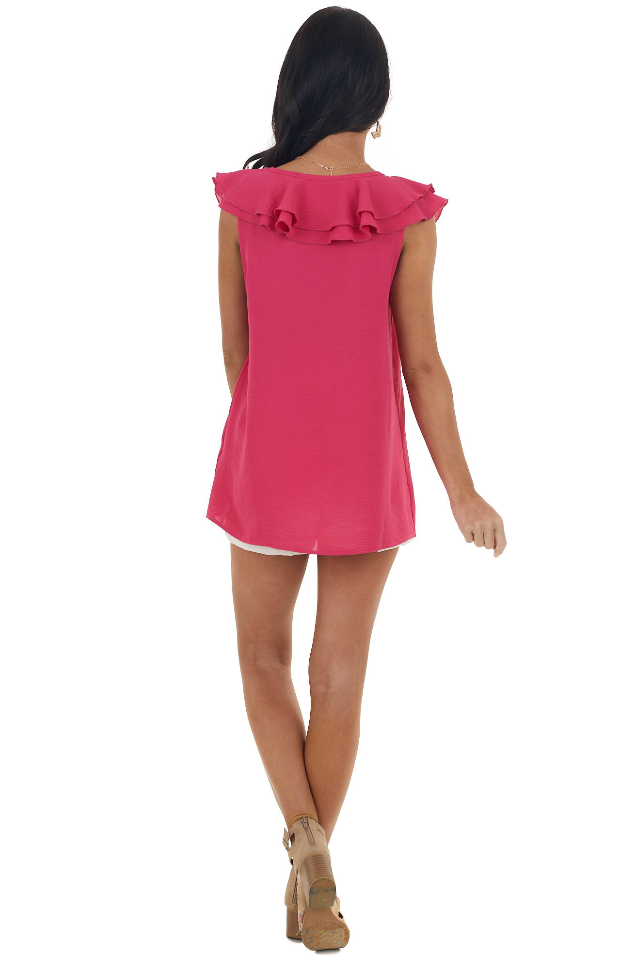 Magenta Short Sleeve Blouse with Ruffle Detail
