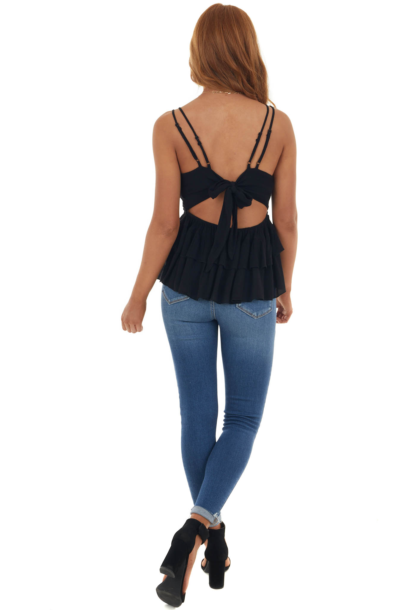 Black Crochet Lace Top with Bow Tie Back
