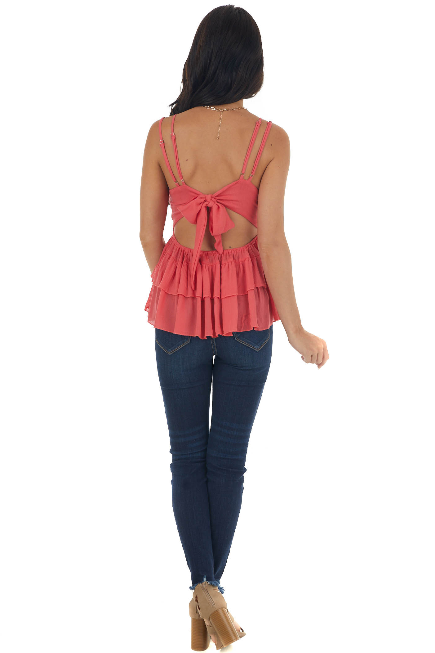 Bright Coral Crochet Lace Top with Bow Tie Back