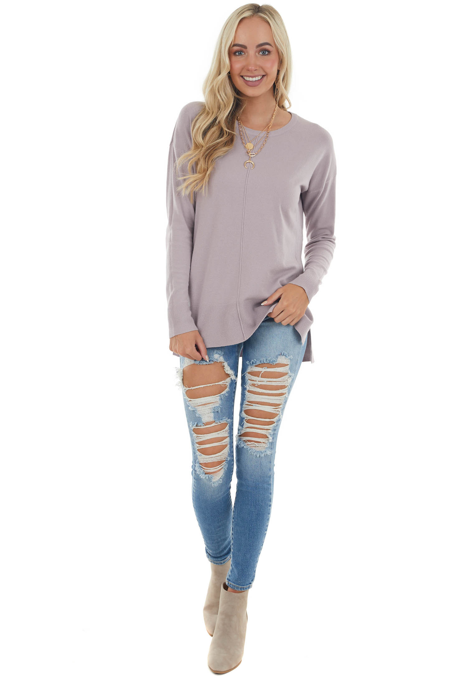 Mauve Soft Knit Sweater with Long Sleeves