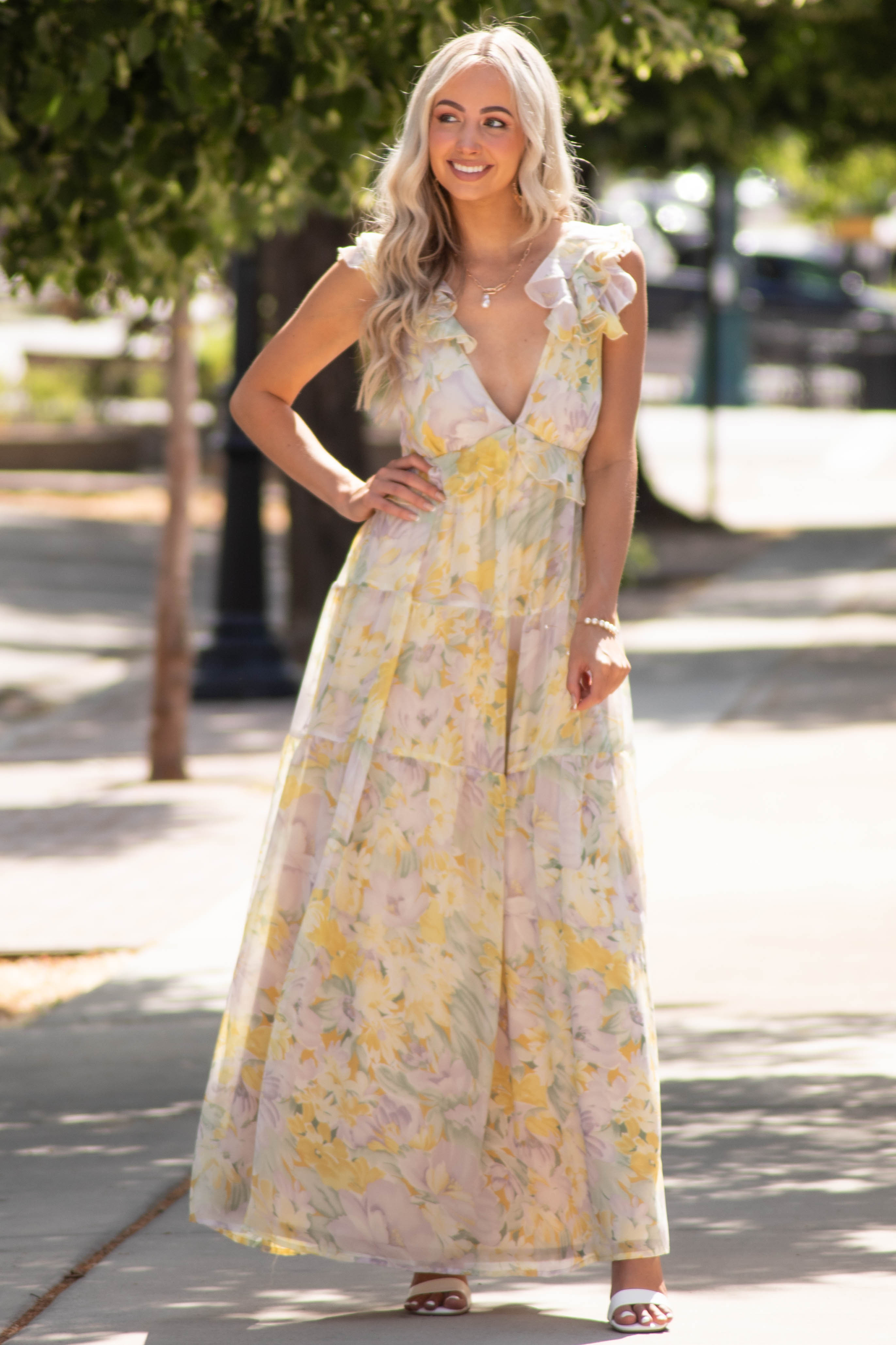 Pastel Yellow Floral Open Back Maxi Dress