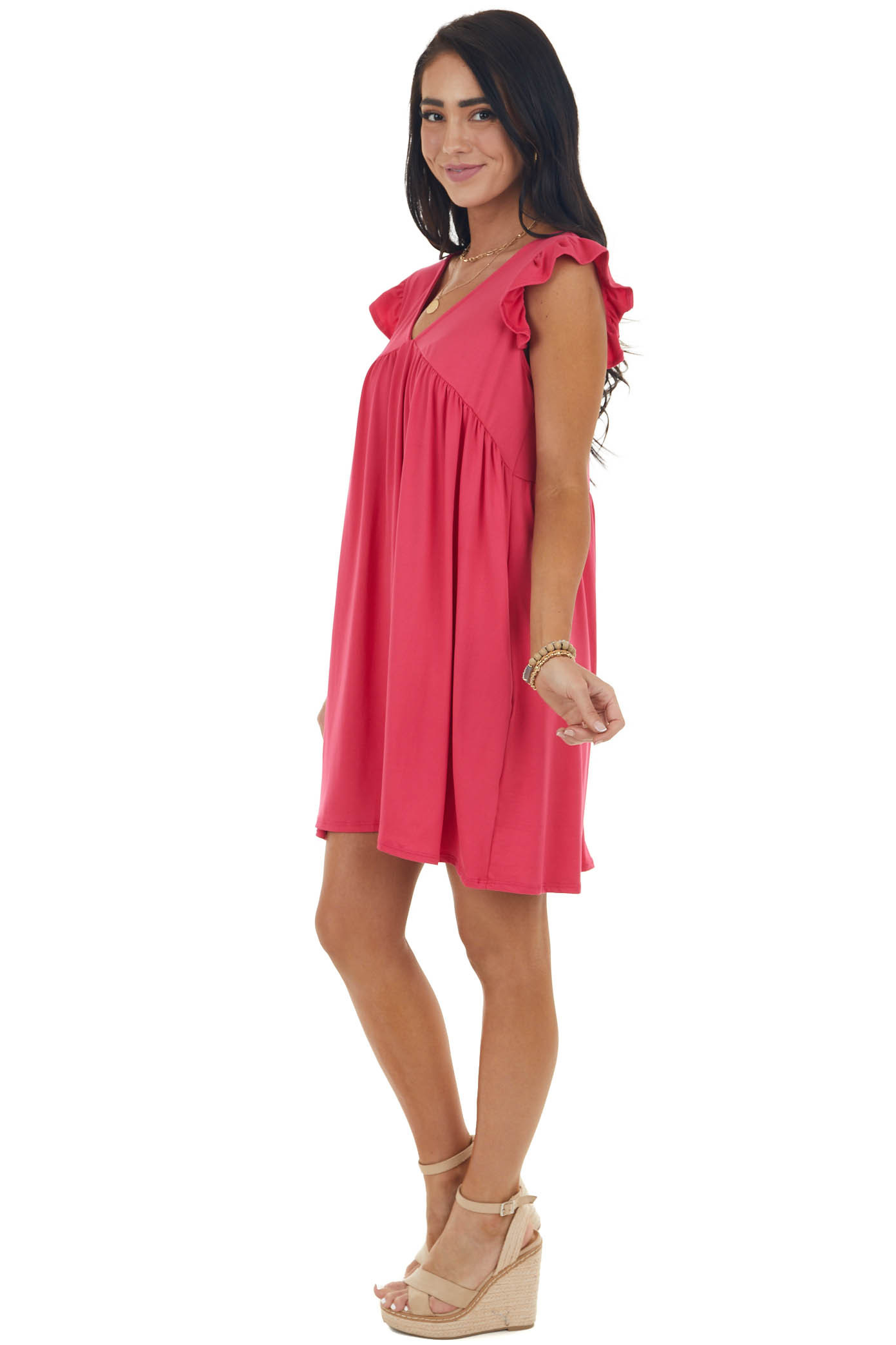 Hot Pink Baby Doll Mini Dress with Ruffle Detail