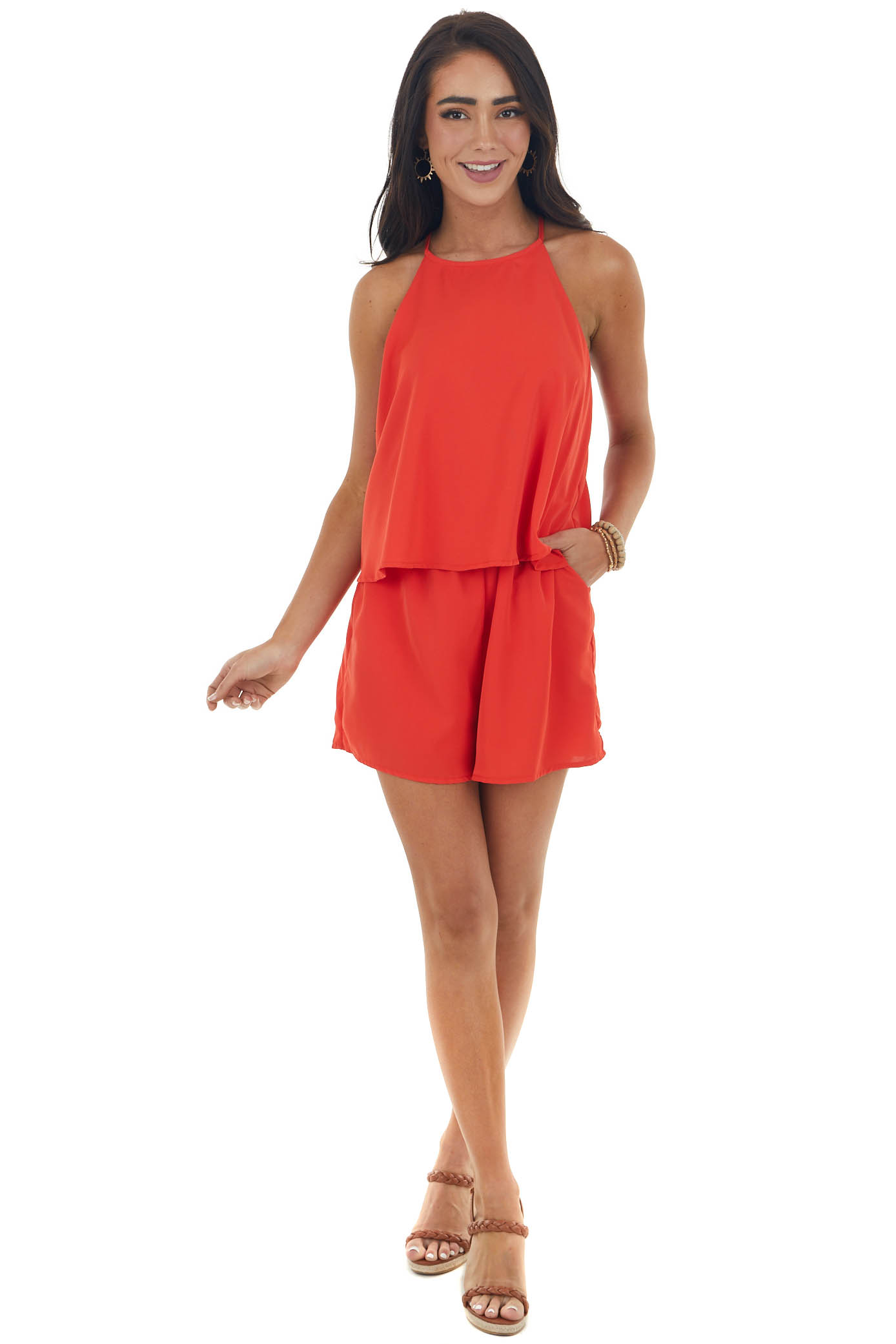 Scarlet Layered Woven Romper with Side Pockets