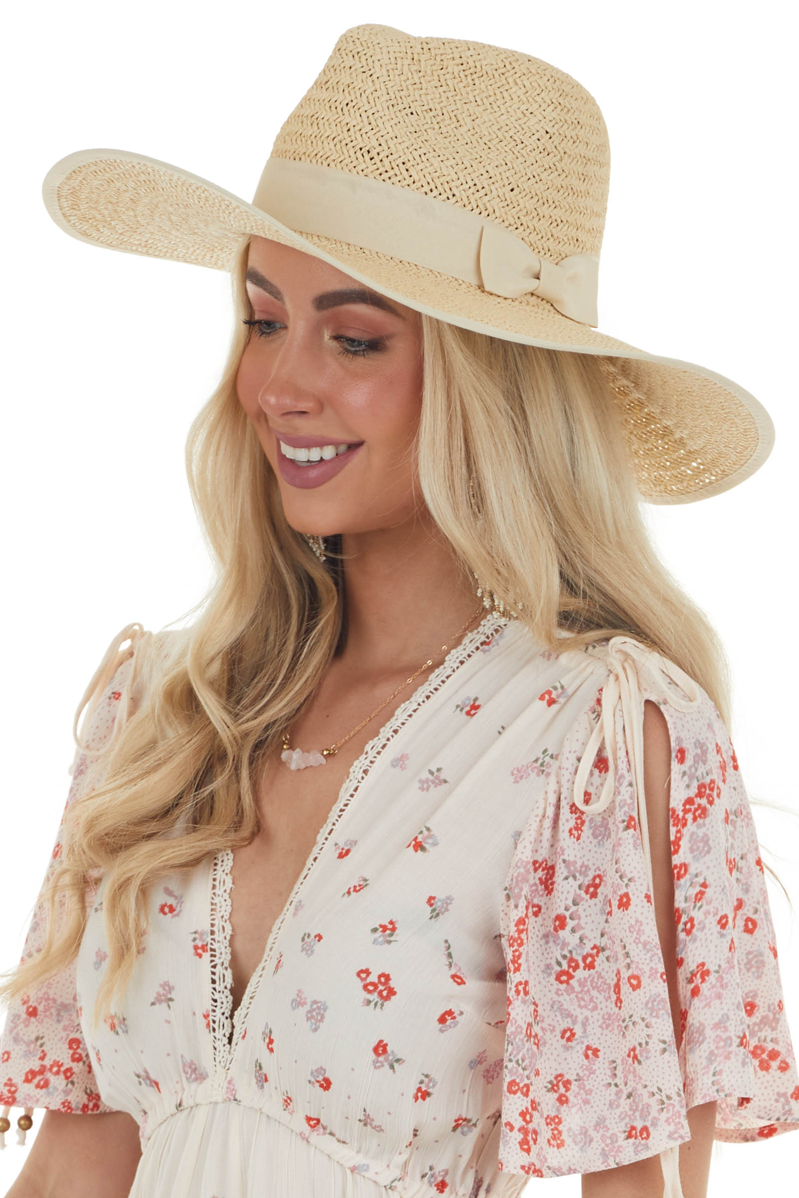 Sand Flat Brim Straw Hat with Bow Detail