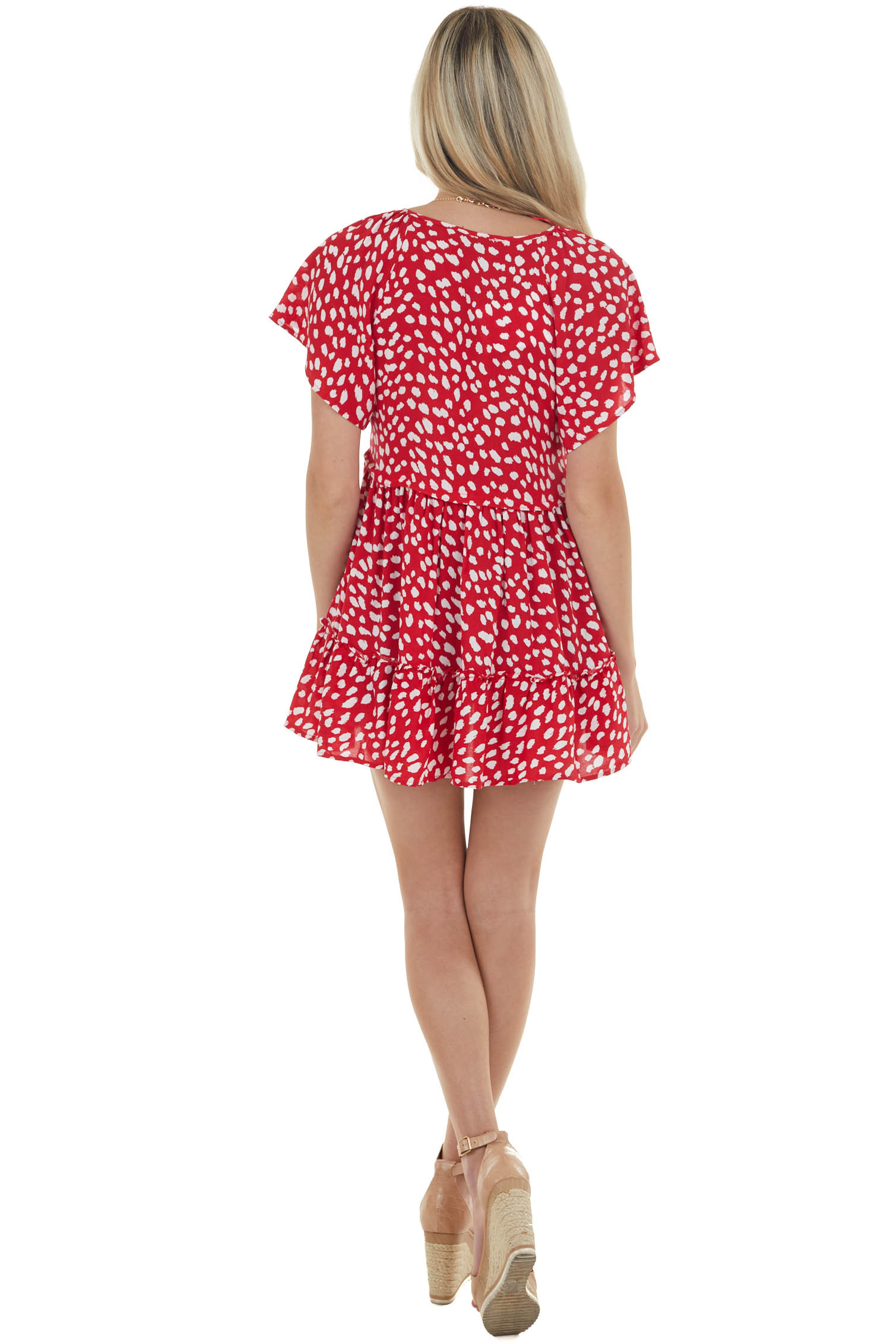 Red and Ivory Polka Dot Babydoll Tunic Blouse