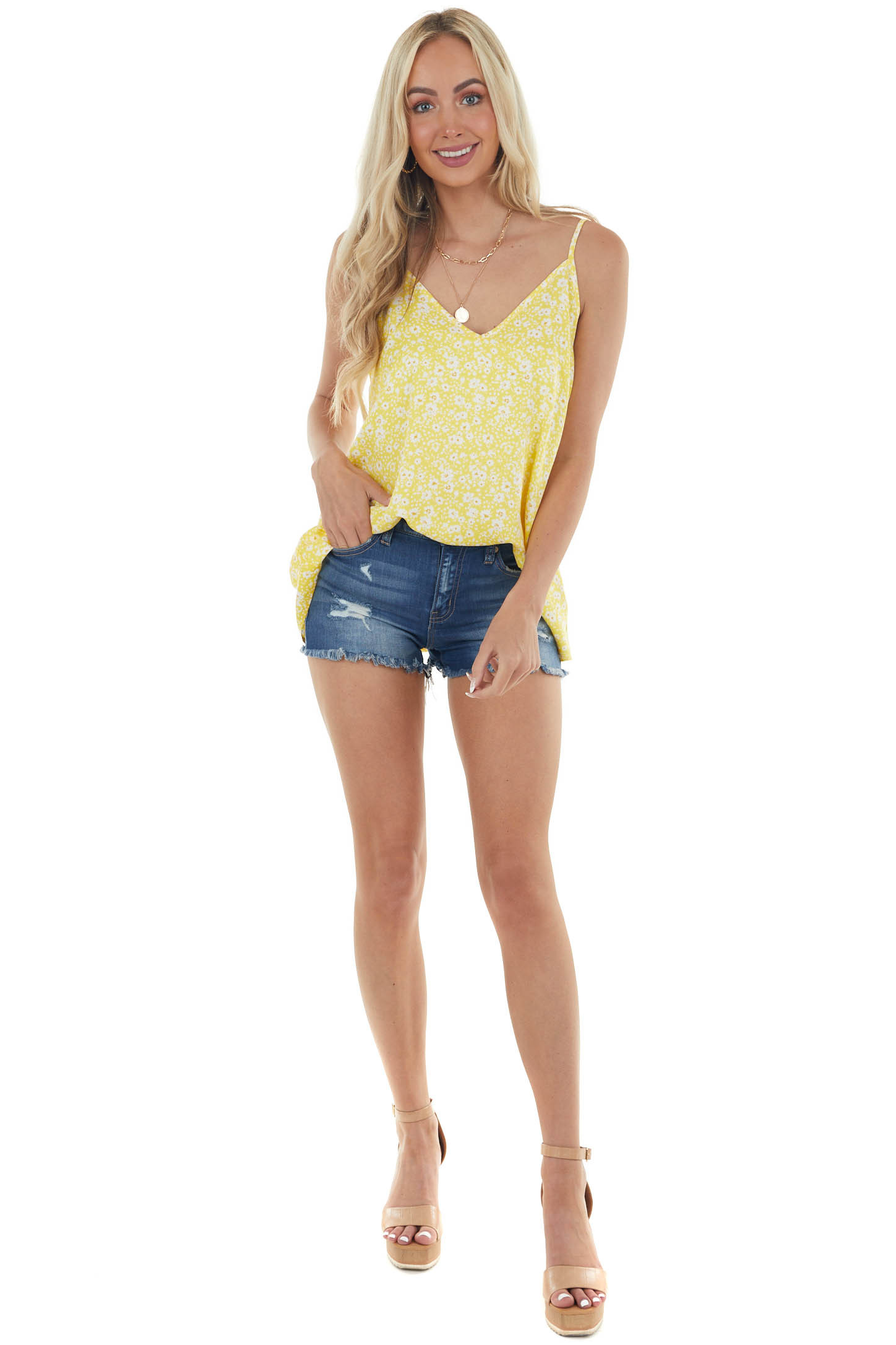 Canary Yellow Floral Print Sleeveless Top