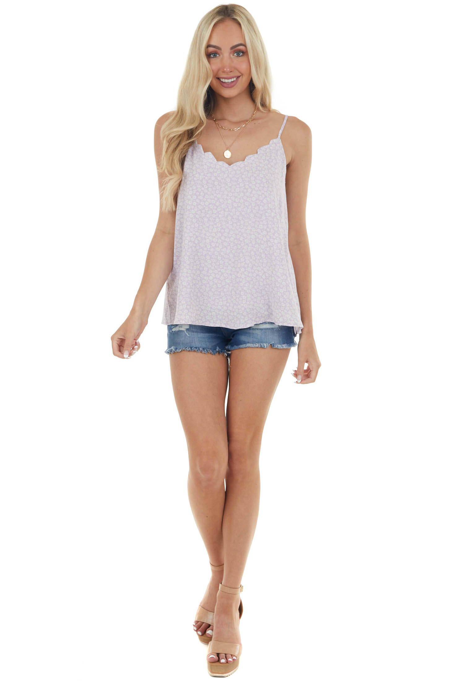Lavender and Off White Floral Print Tank Top