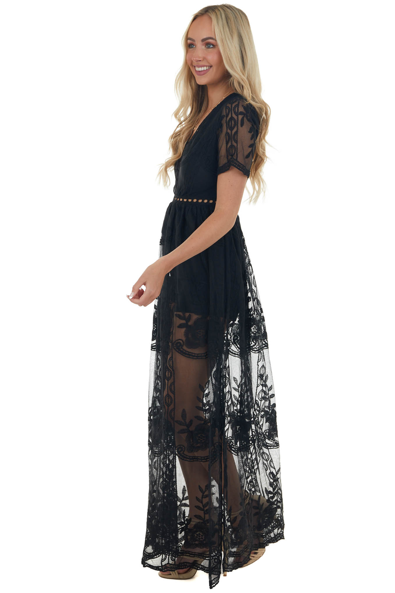 Black Lace V Neck Romper with Maxi Overlay