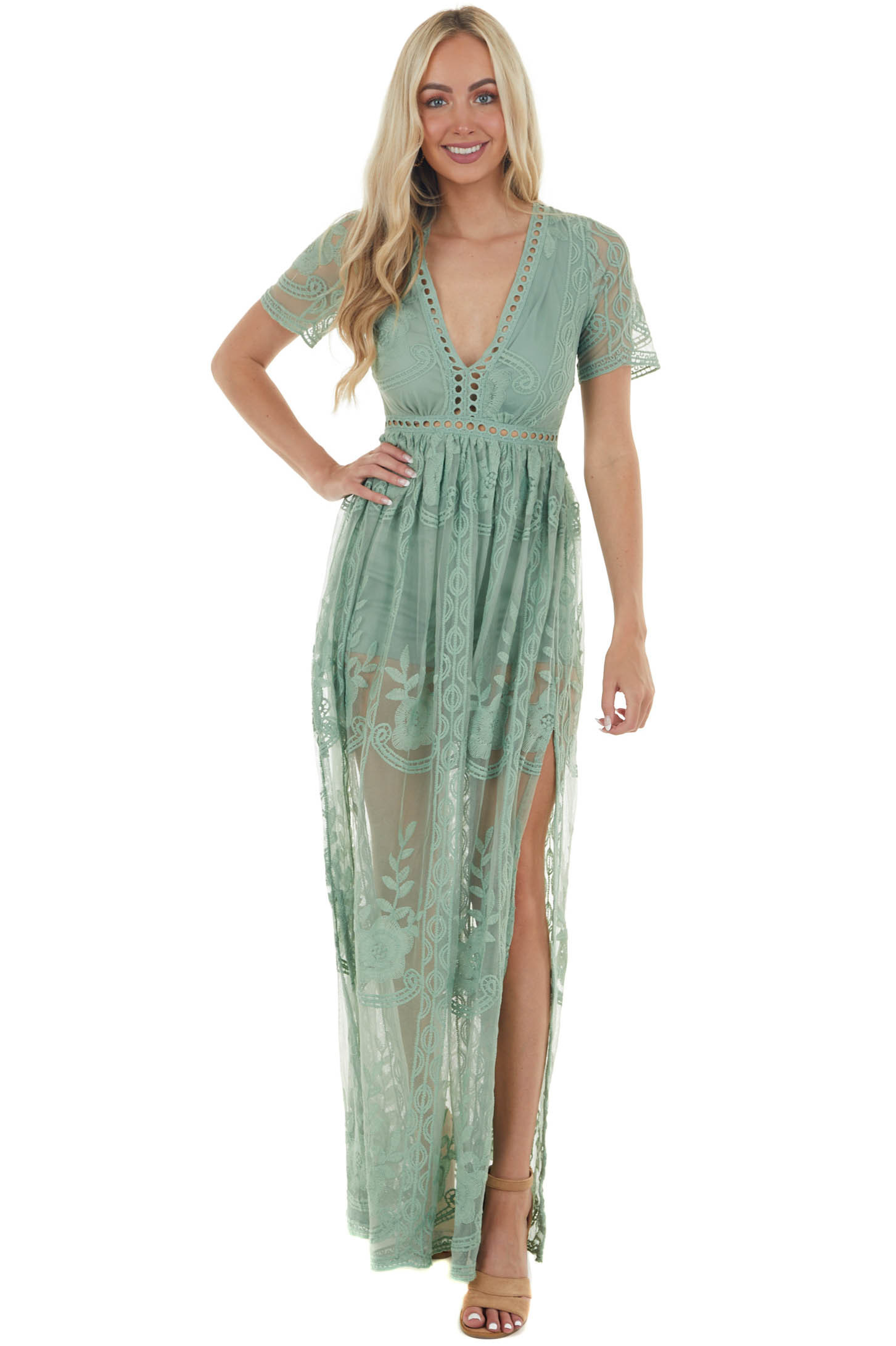 Sage Lace V Neck Romper with Maxi Overlay