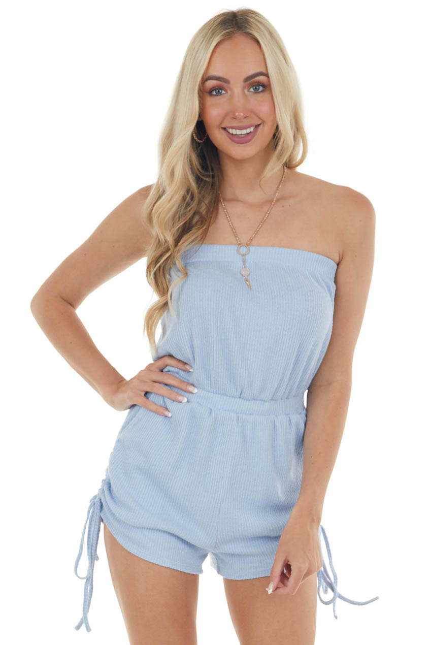 Powder Blue Ribbed Ruched Strapless Romper