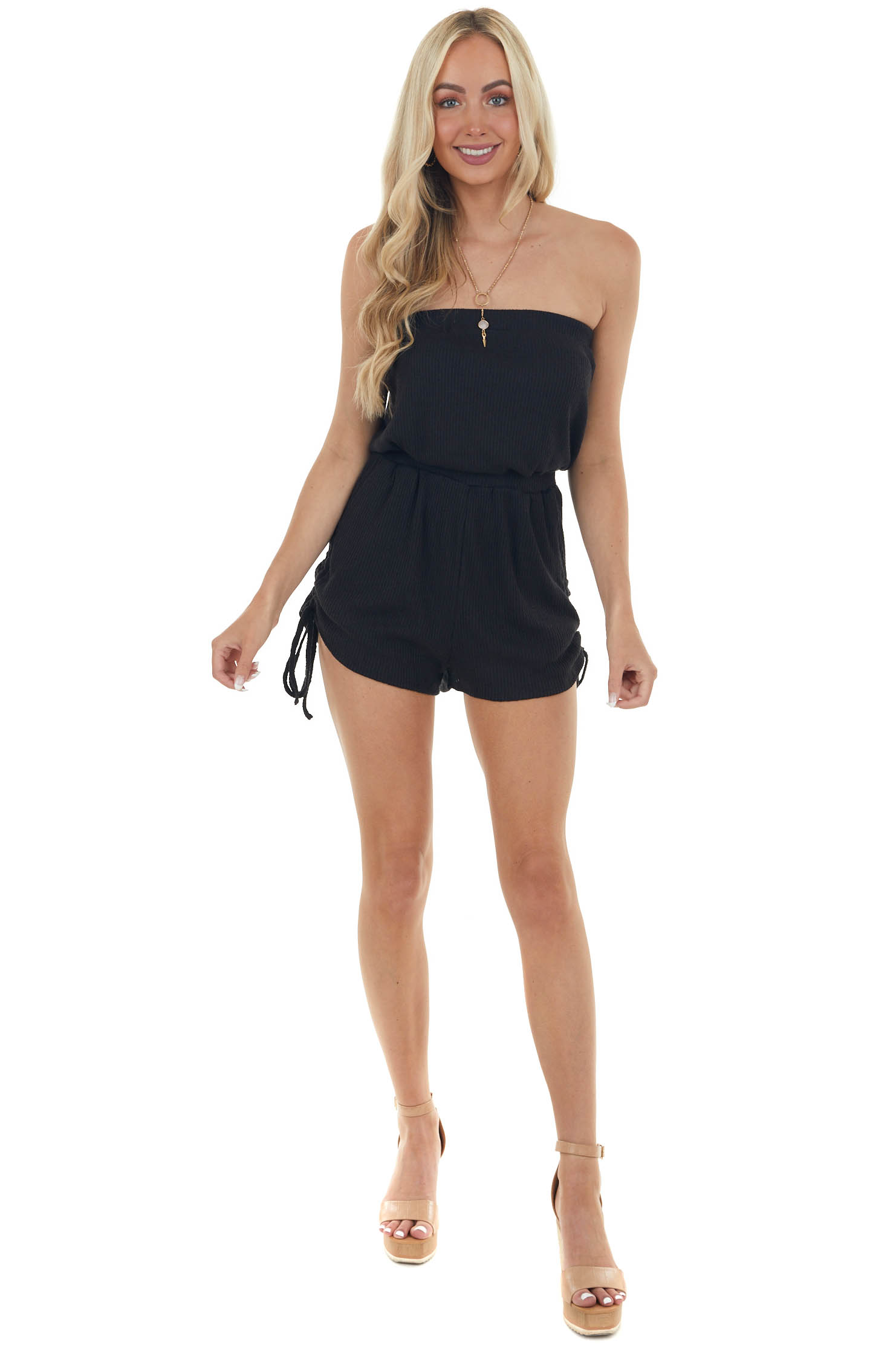 Black Ribbed Ruched Strapless Romper