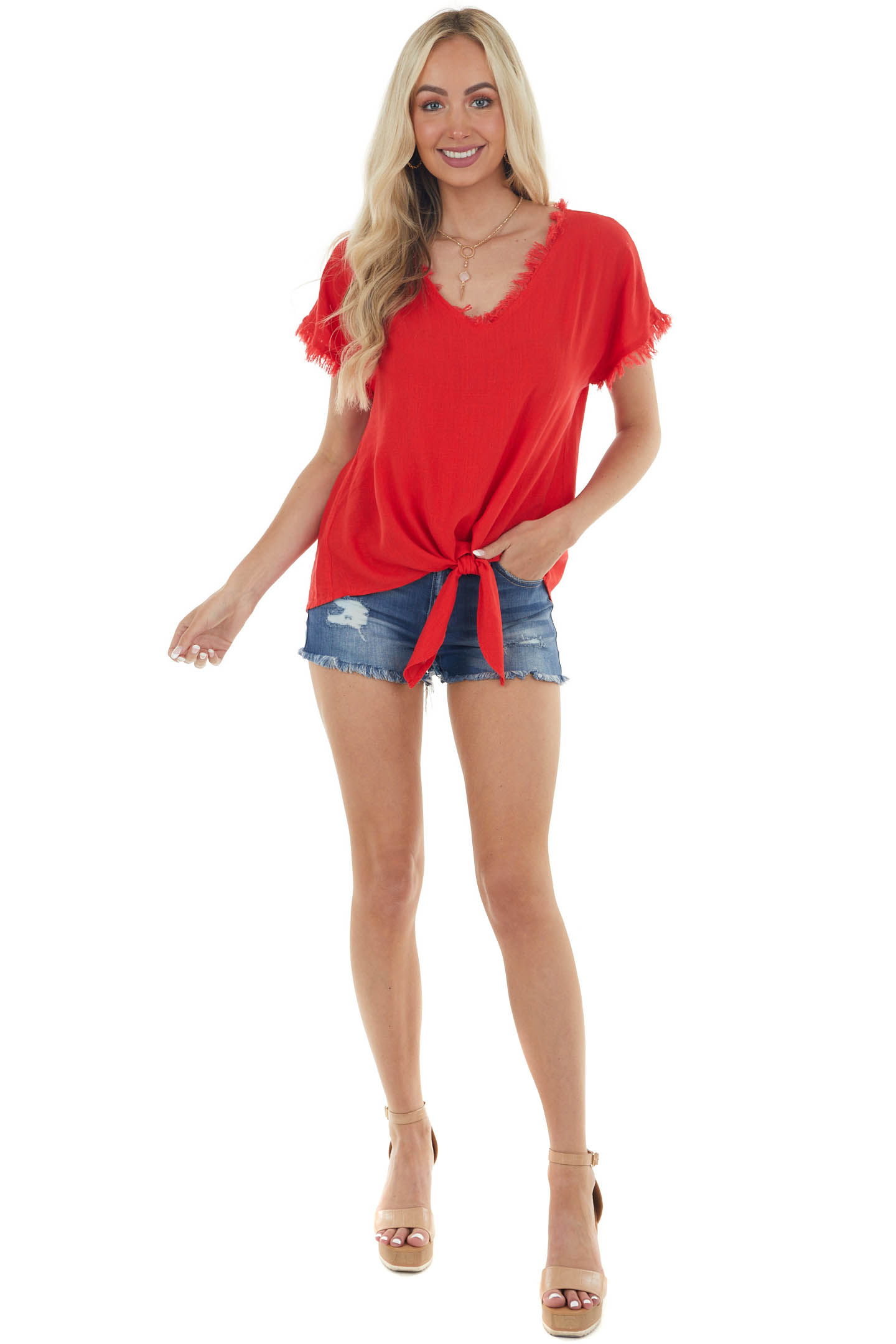 Ruby Red Frayed V Neck Front Tie Blouse