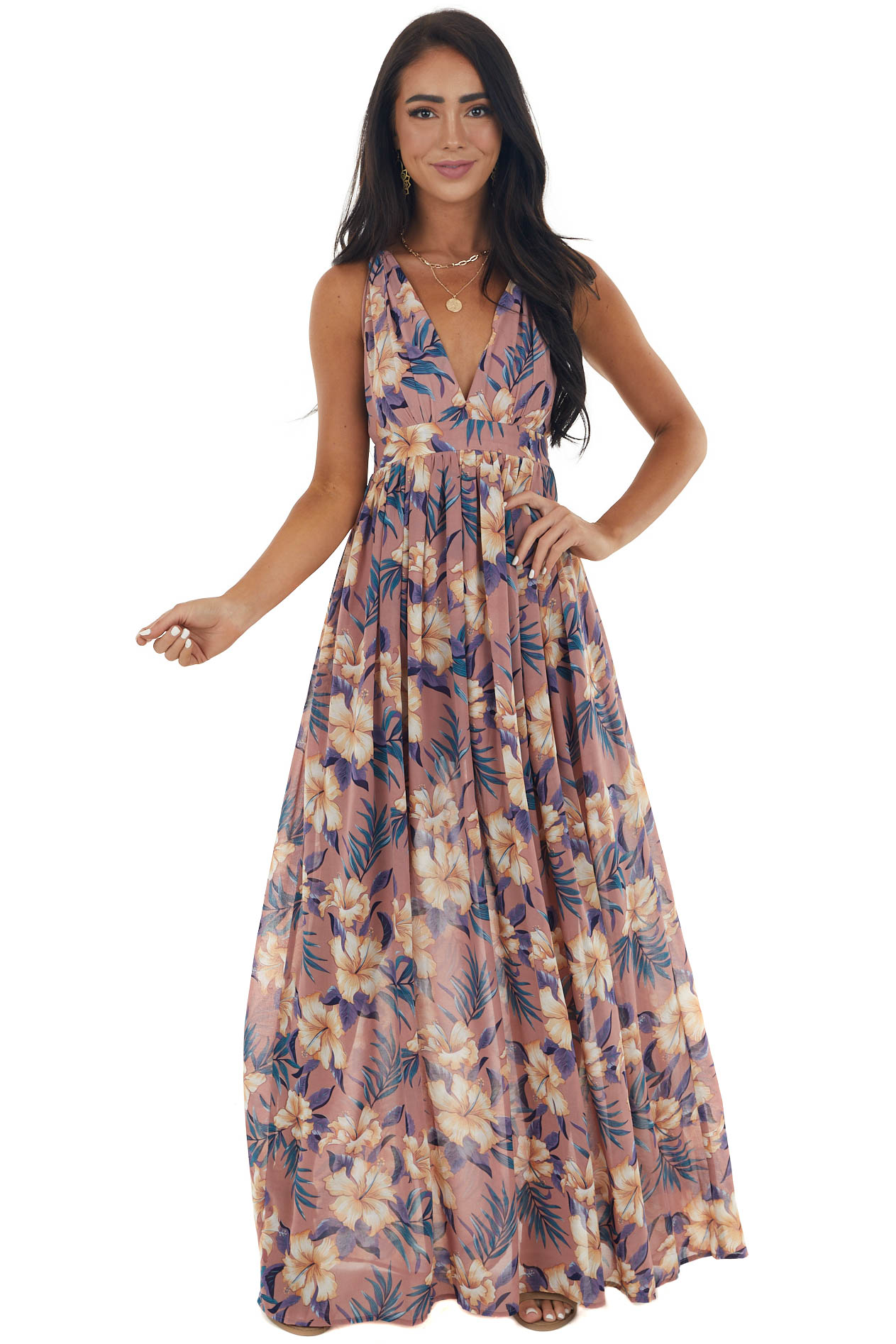 Dusty Rose Floral Print Open Back Maxi Dress