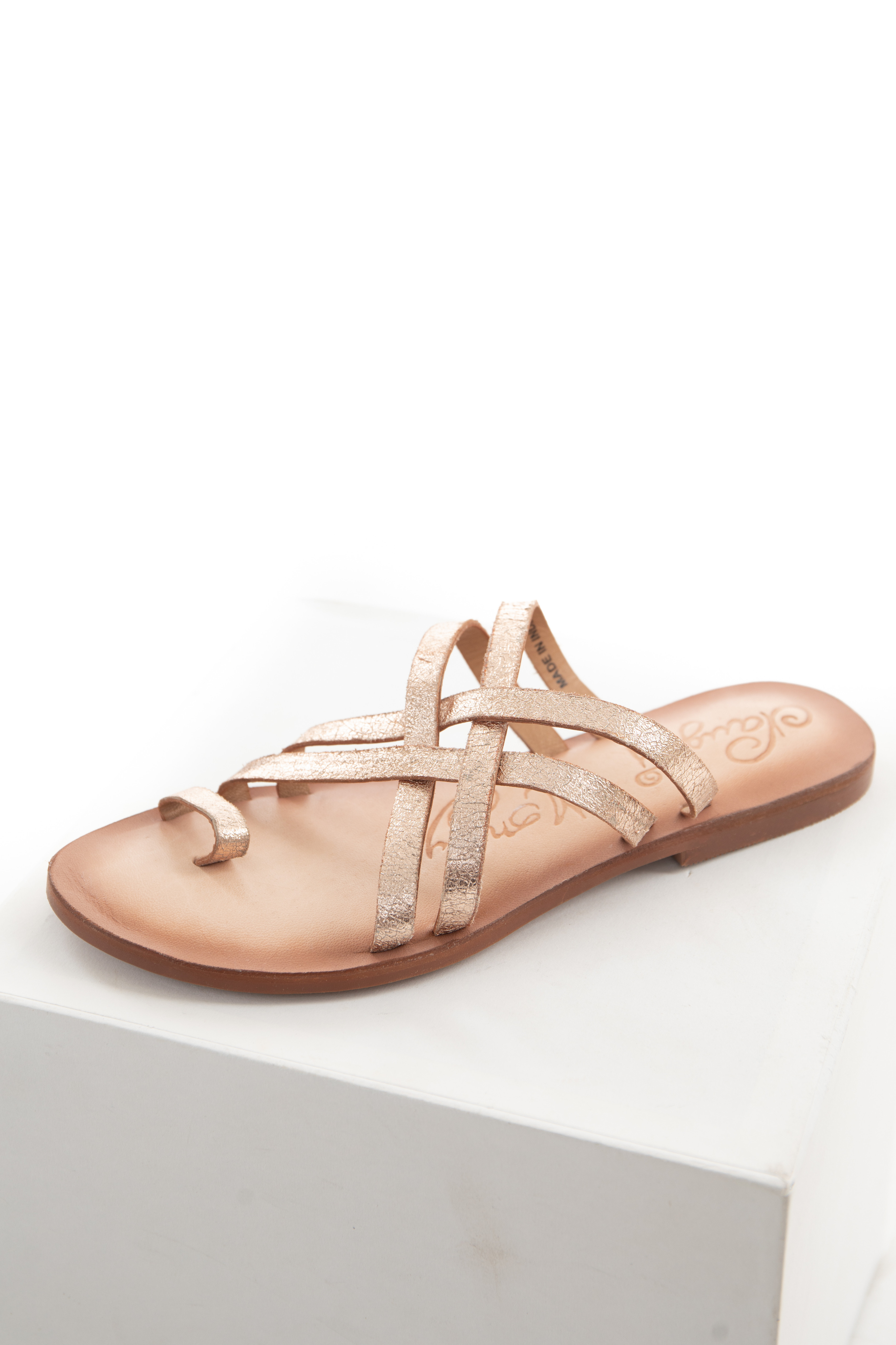Rose Gold Genuine Leather Strappy Sandal