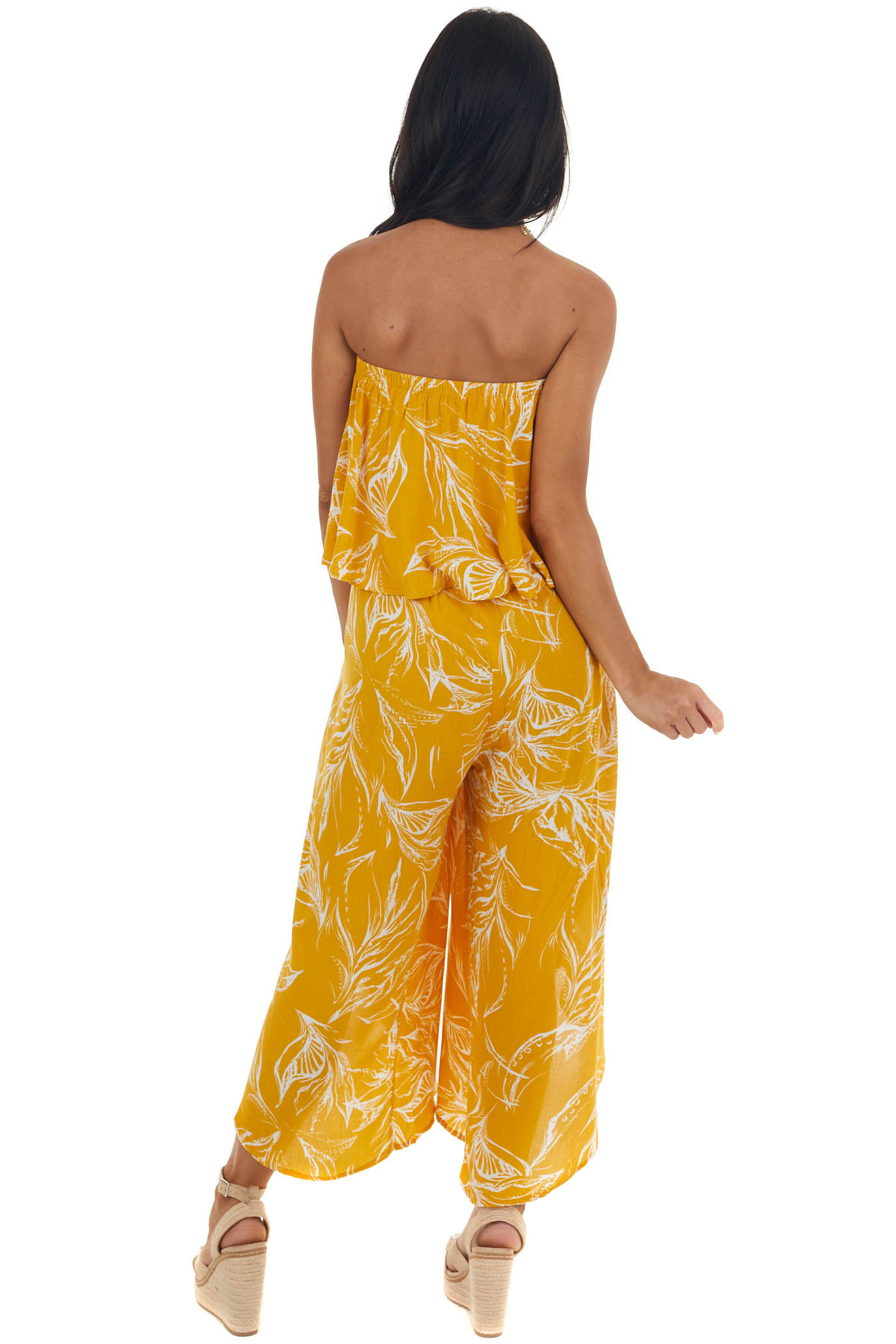 Marigold Printed Strapless Layered Jumpsuit