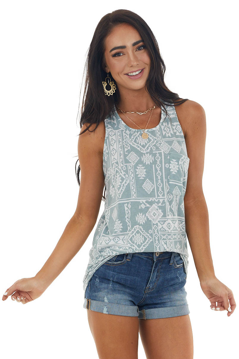 Faded Teal Aztec Print Chest Pocket Tank Top