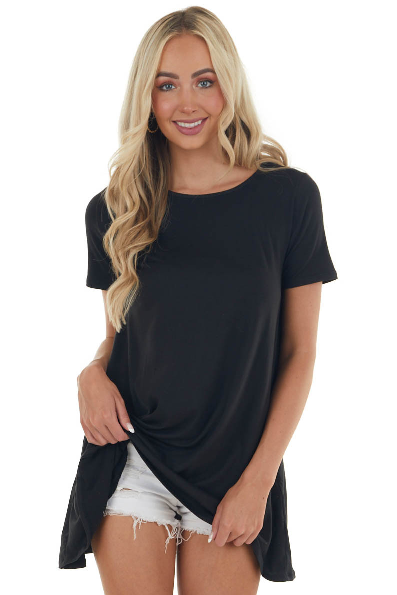 Black Short Sleeve Tunic Top with Side Pockets