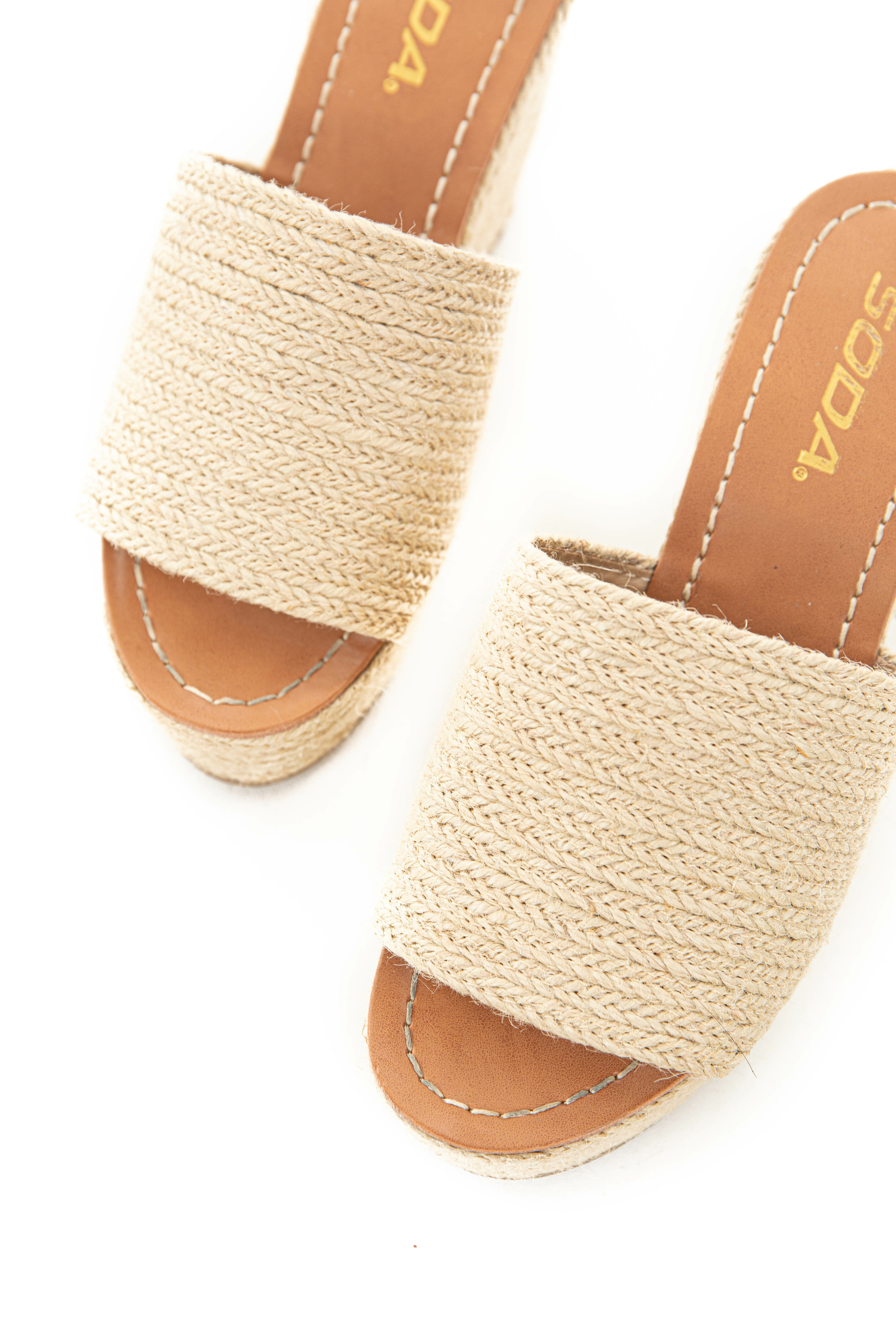 Tan Slip On Wedges with Rope Style Detail