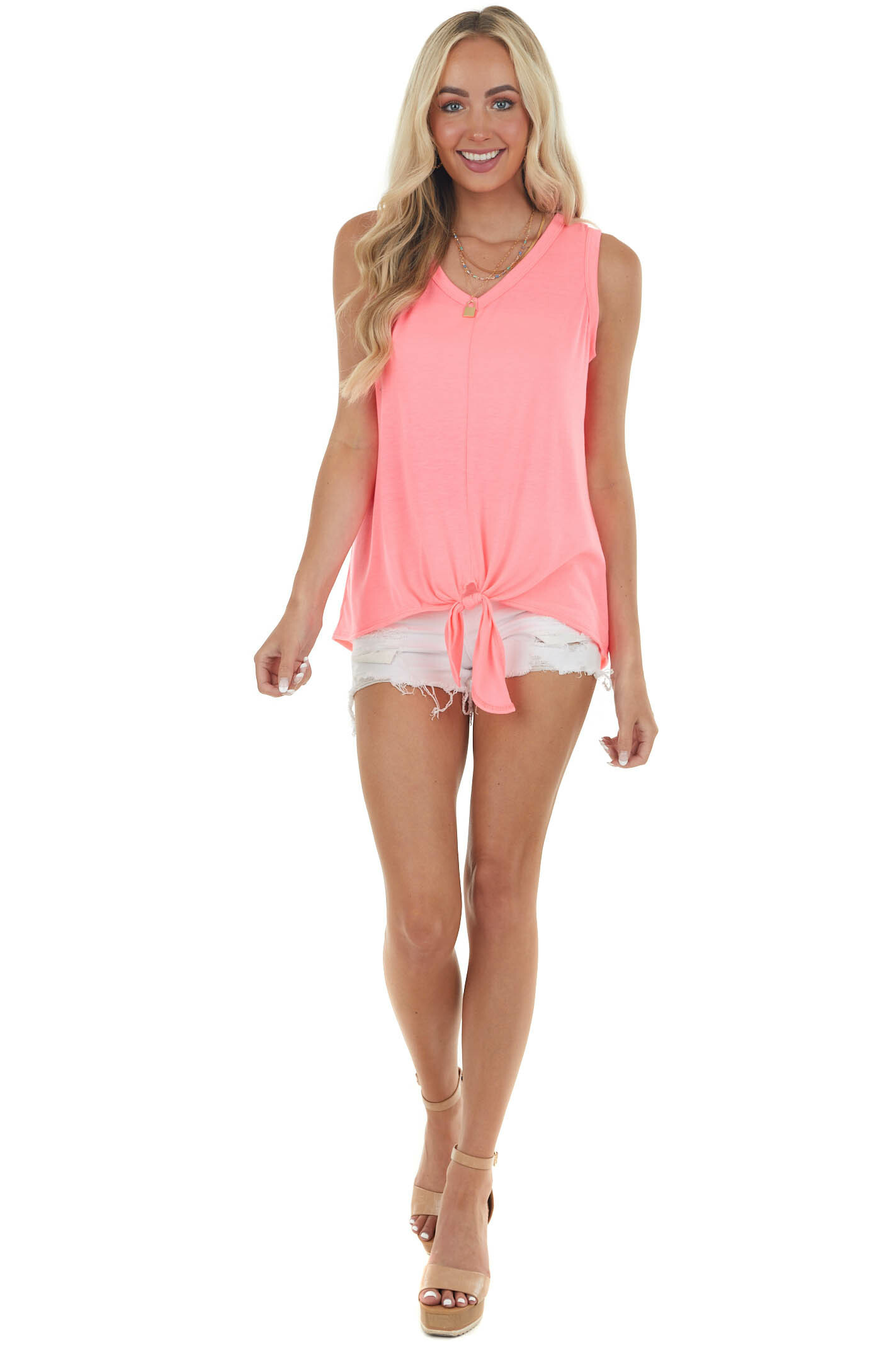 Neon Pink Knit Tank Top with Front Tie Detail