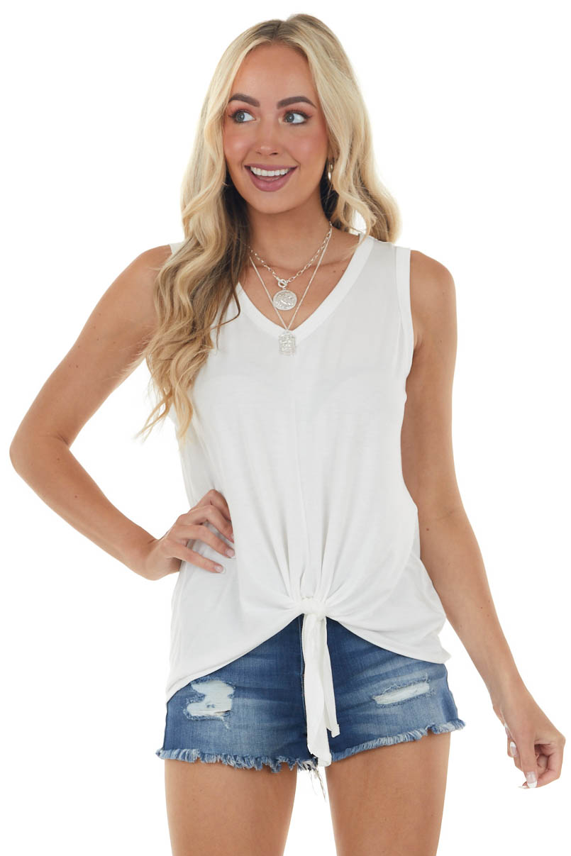 Off White Knit Tank Top with Front Tie Detail