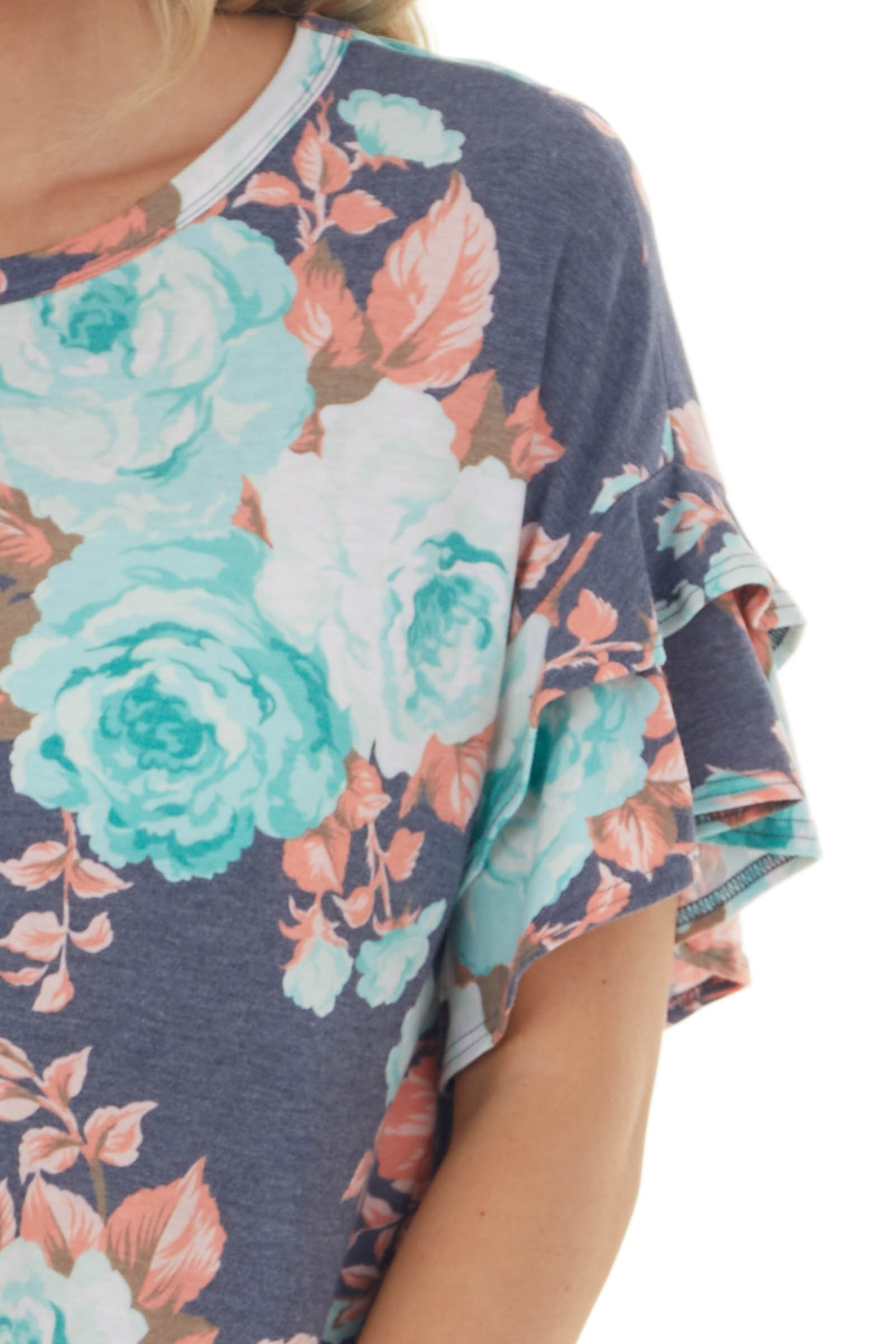 Heathered Navy Floral Ruffle Sleeve Knit Top