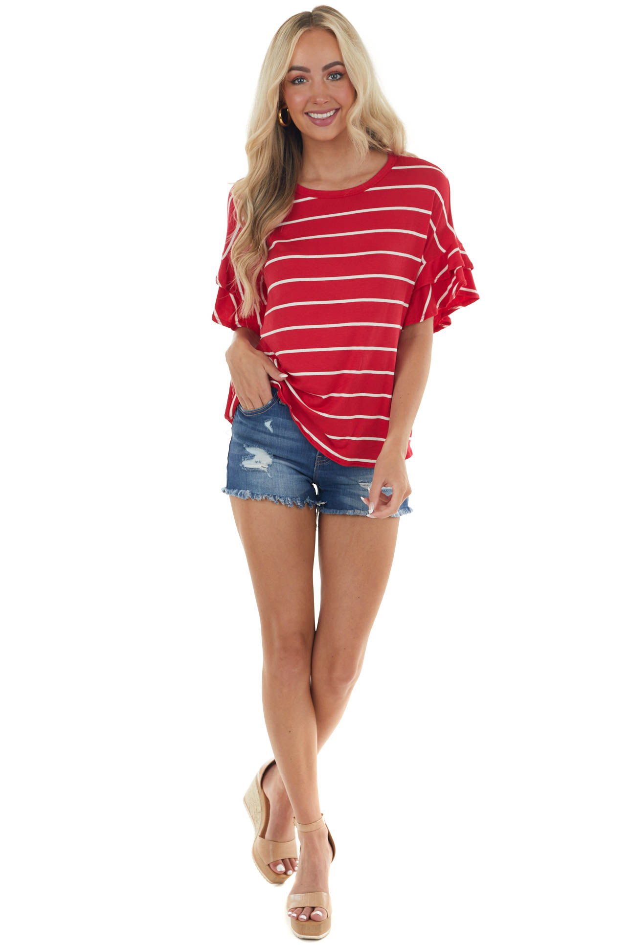 Ruby Striped Ruffle Sleeve Knit Top