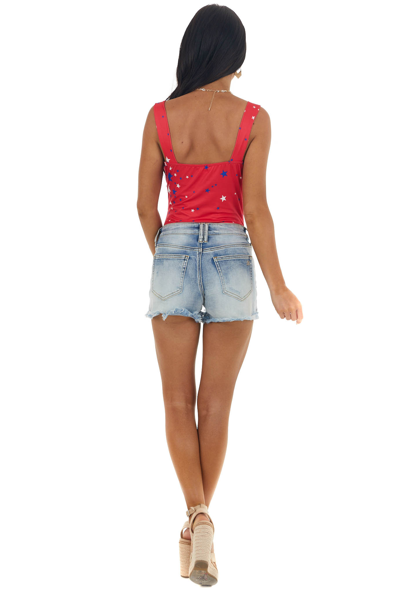 Red Star Print Bodysuit with Straps