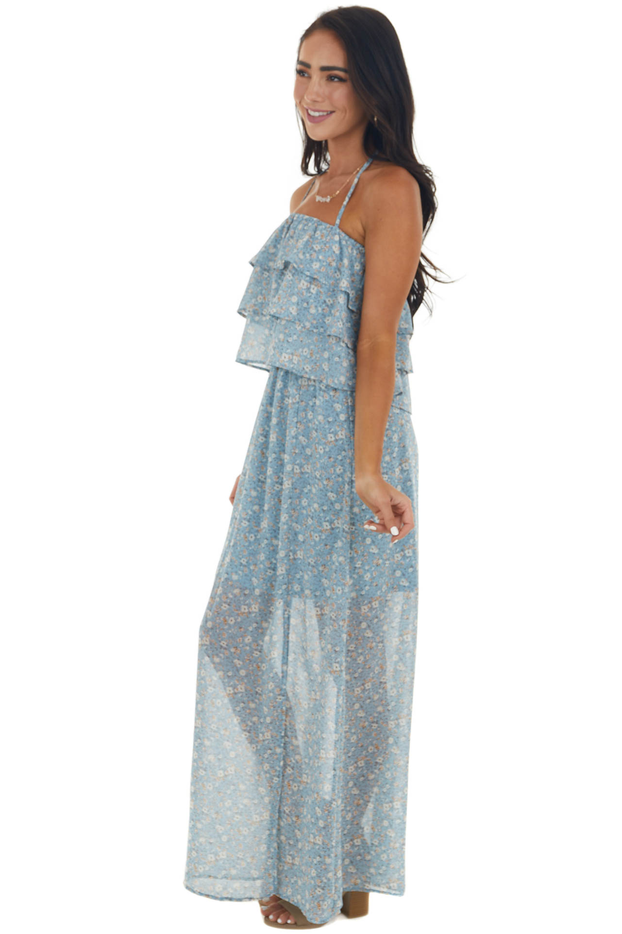 Powder Blue Ditsy Floral Tiered Overlay Dress