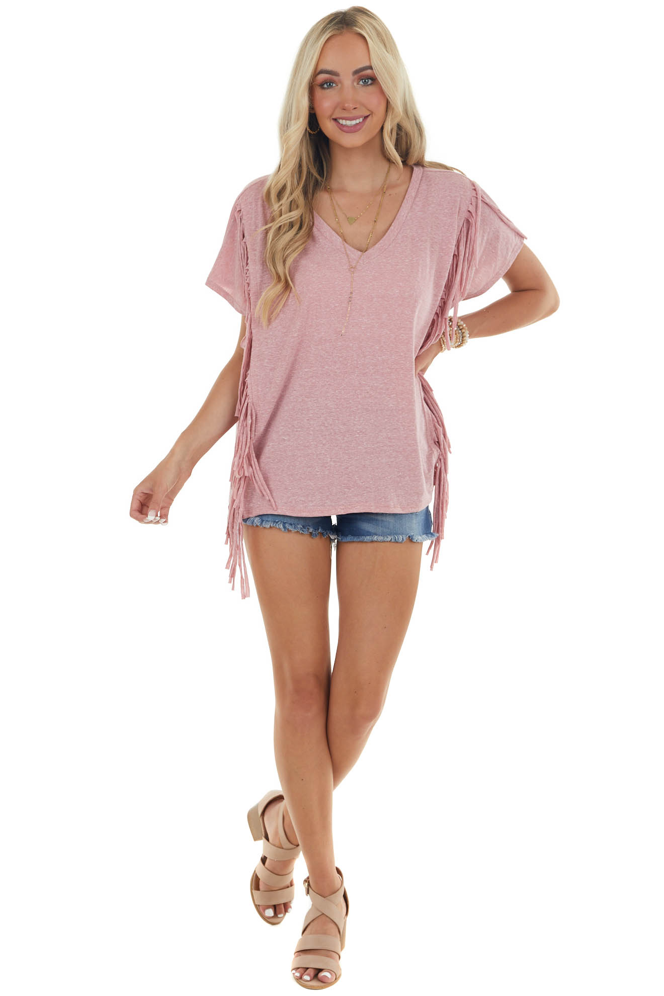 Heathered Dusty Rose Top with Fringe Details