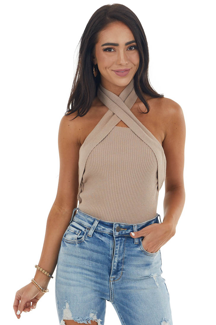 Pale Taupe Criss Cross Halter Ribbed Knit Top