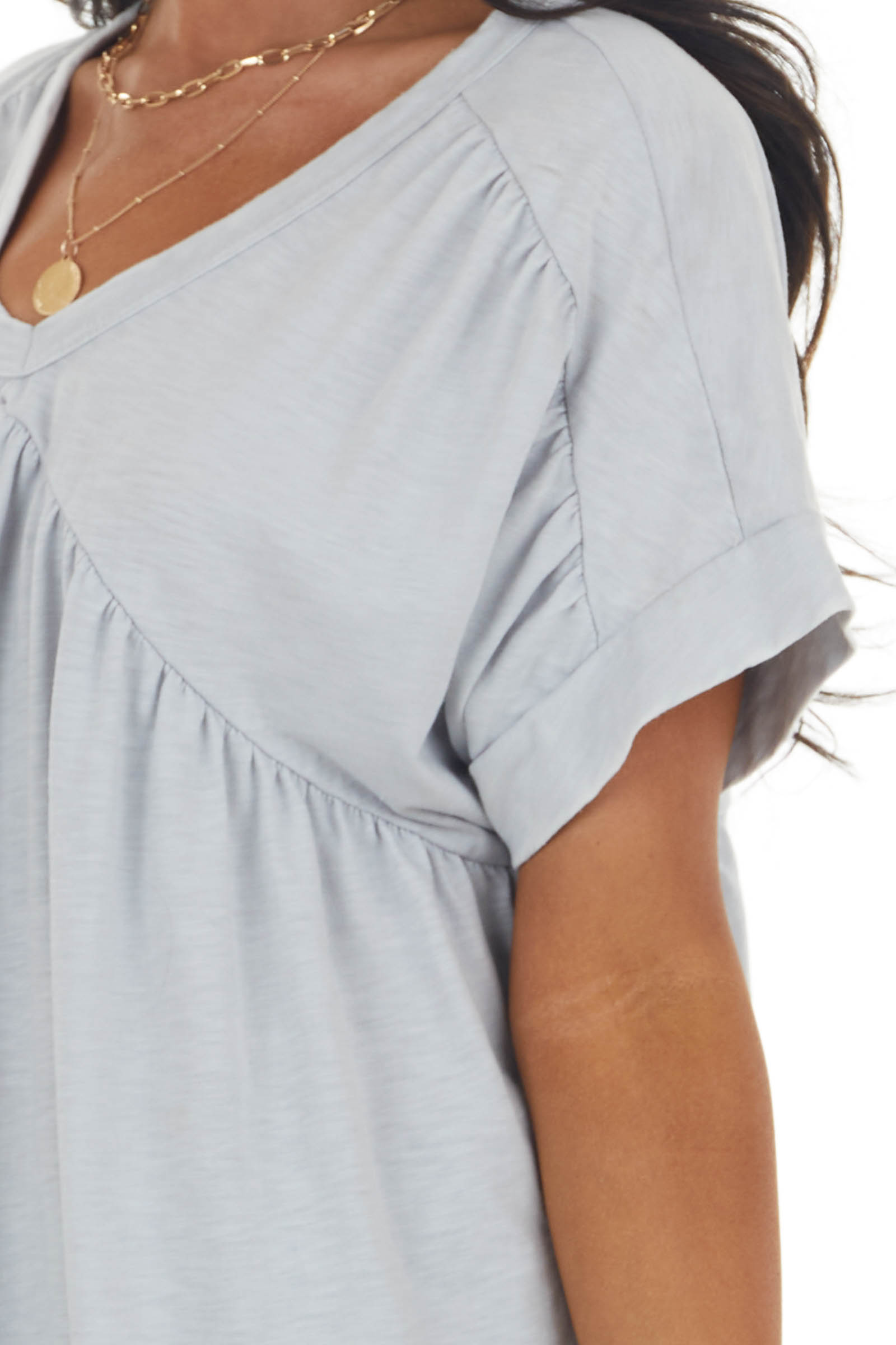 Light Grey Baby Doll Knit Top