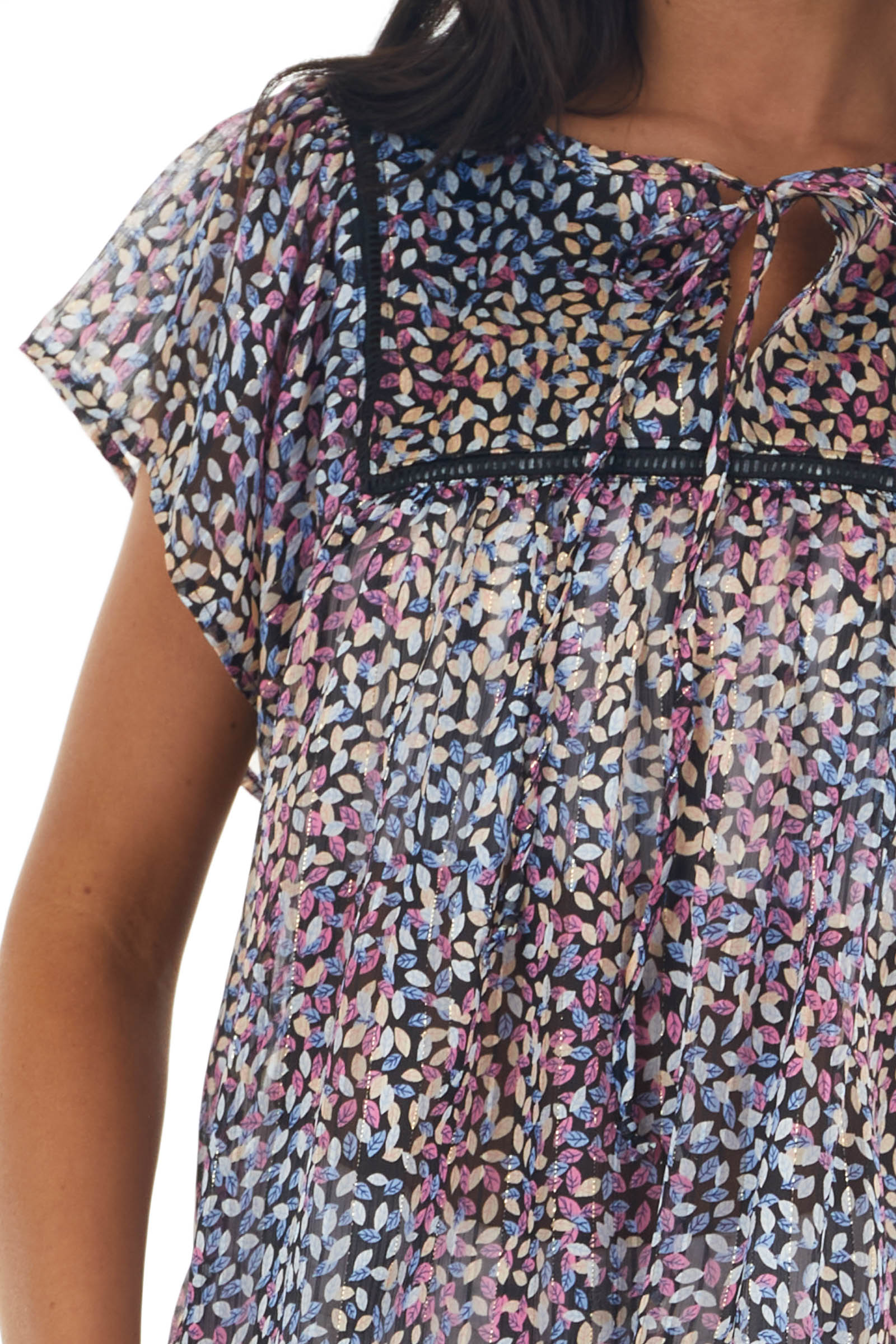 Multicolor Leaf Print Chiffon Blouse with Lace