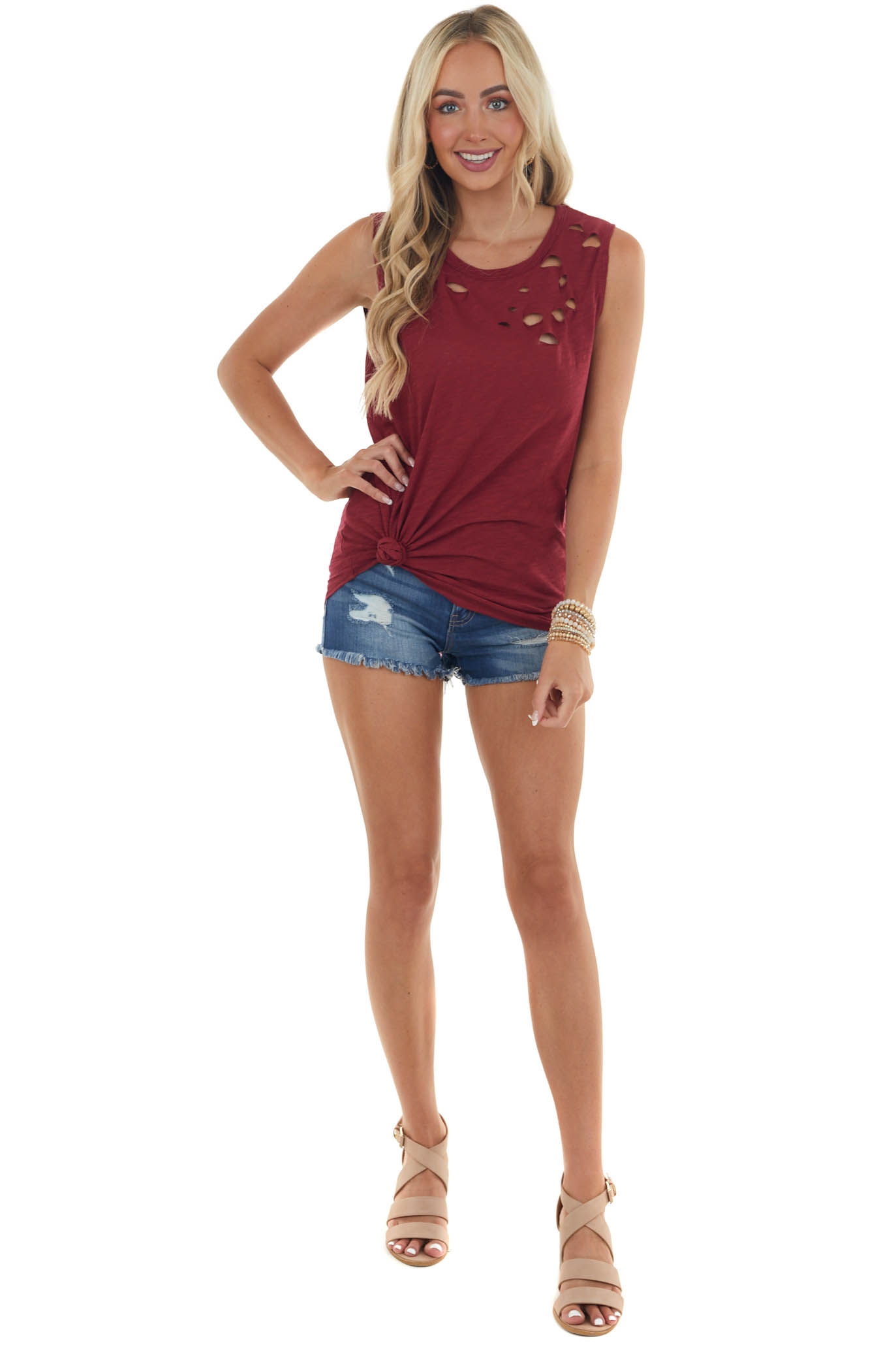 Maroon Tank Top with Distressed Details