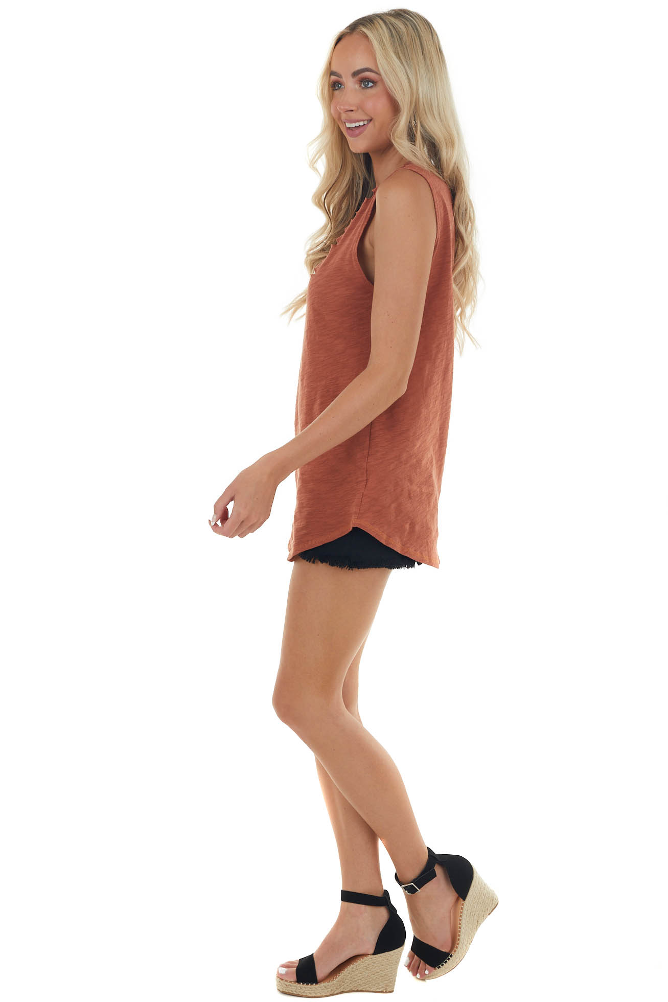 Spice Tank Top with Distressed Details