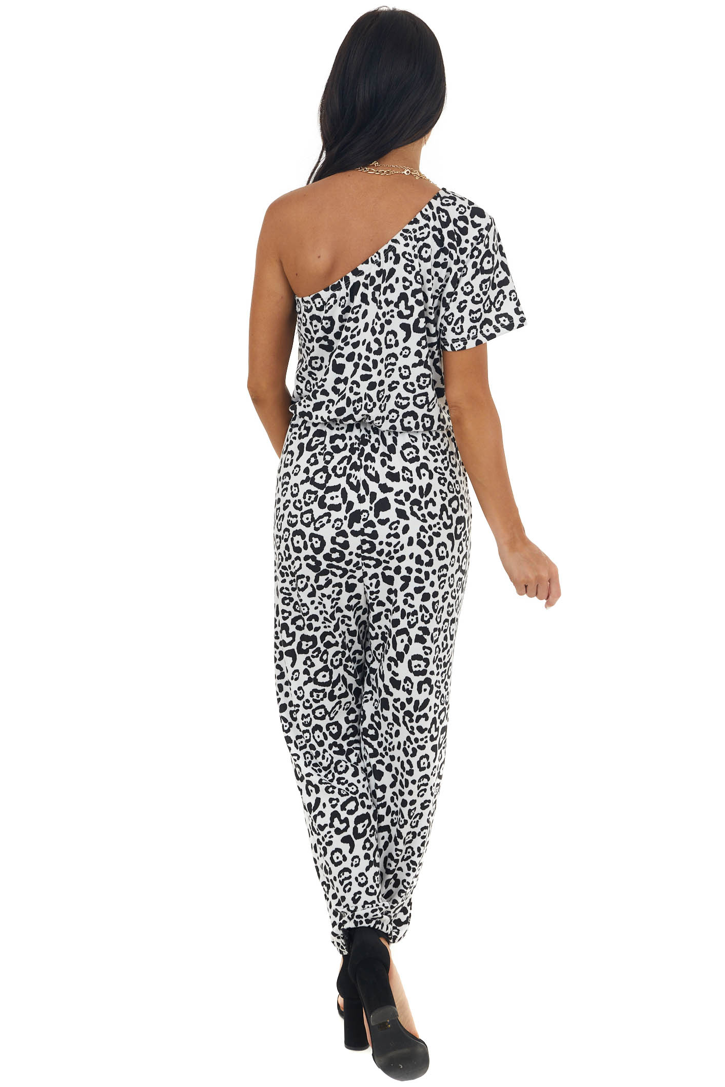 Black and Off White Leopard Print Jumpsuit