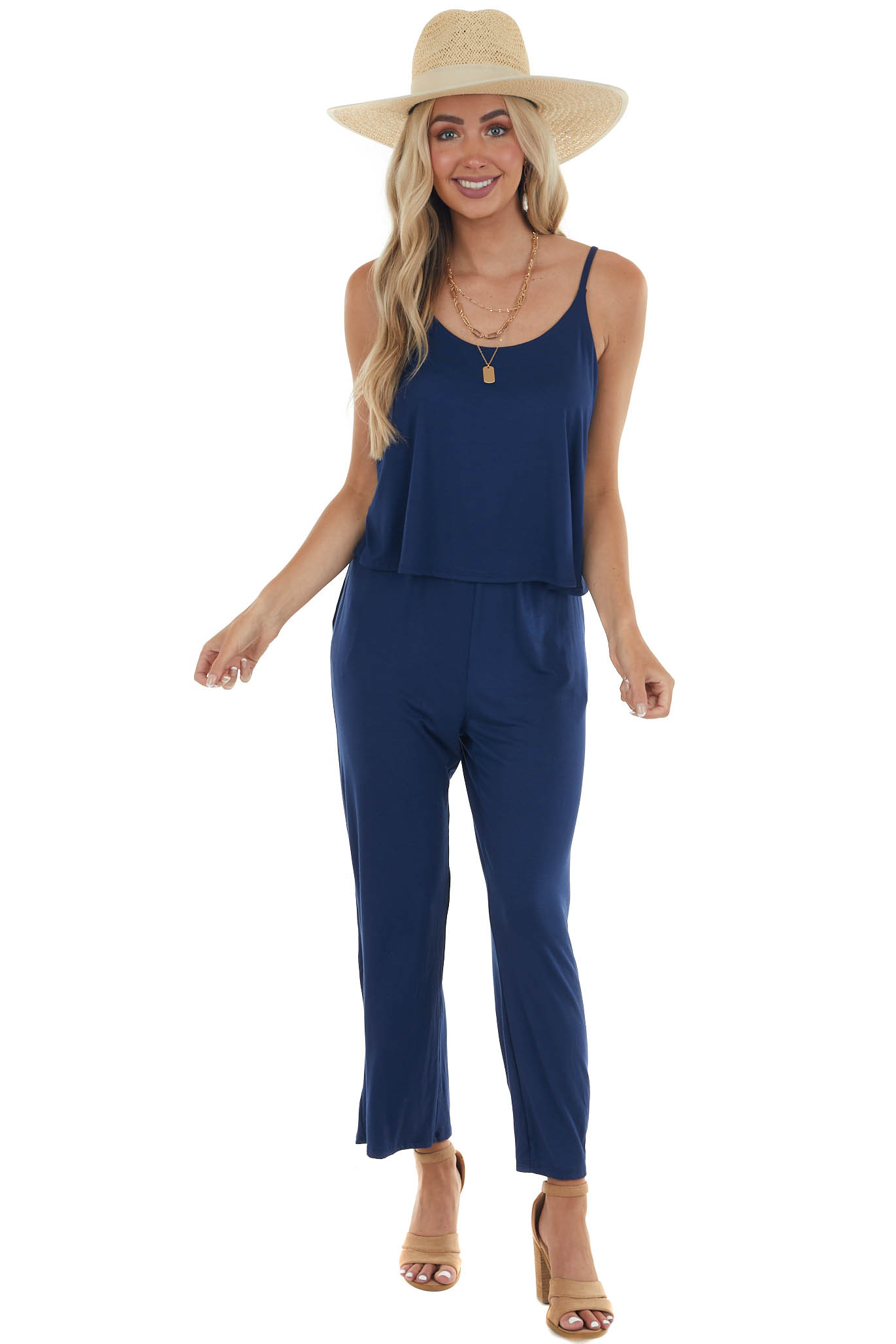 Deep Cobalt Sleeveless Overlaying Knit Jumpsuit with Pockets