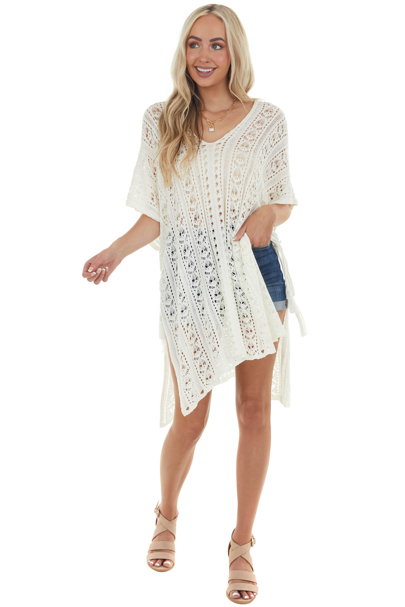 Ivory Knit Loose Fit Cover Up