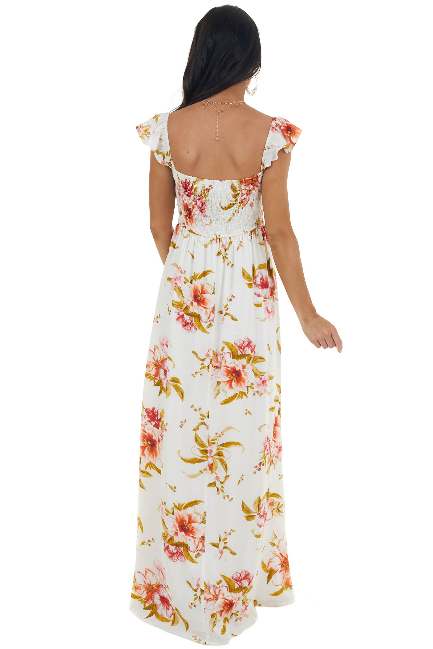 Ivory Floral Print Maxi Dress with Side Slit