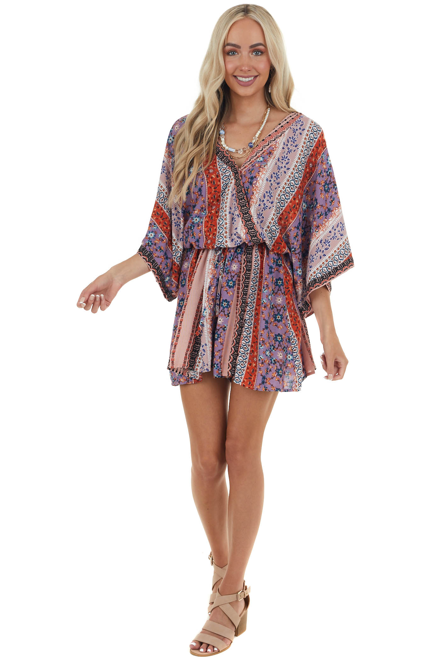 Peach Abstract Printed Romper with Waist Tie