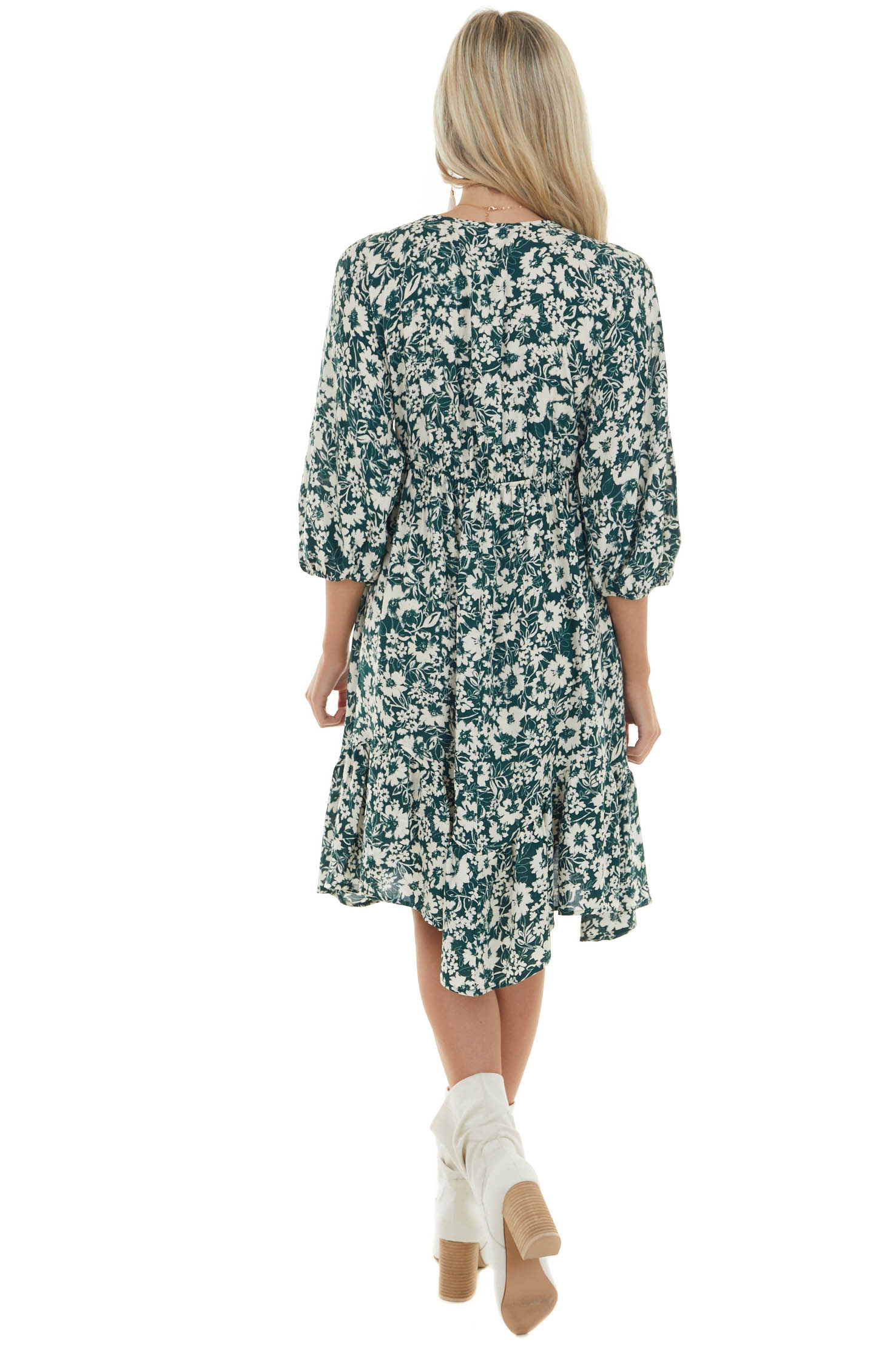 Forest Green Floral Babydoll 3/4 Sleeve Dress