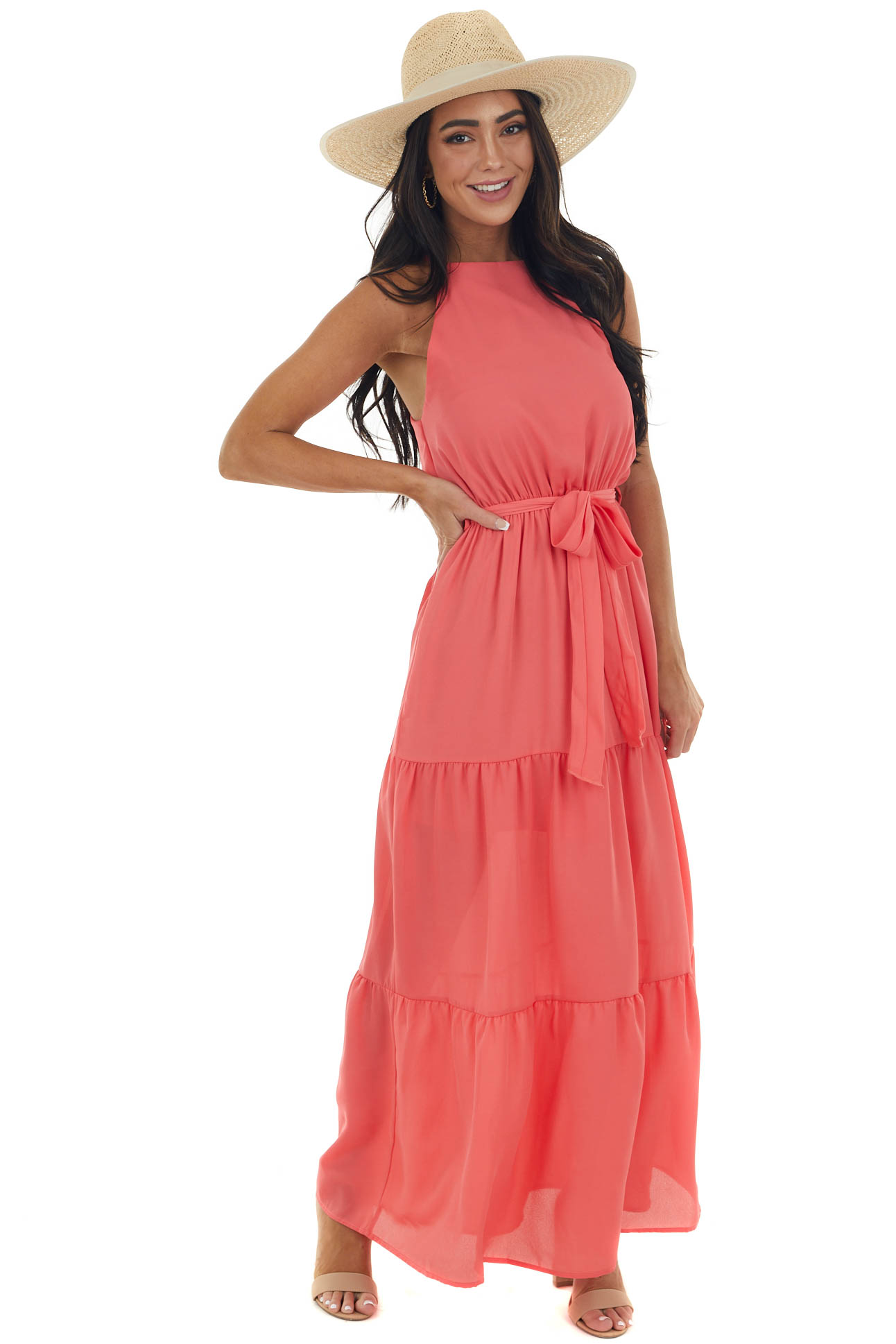 Deep Coral Halter Neck Tiered Maxi Dress with Keyhole Back