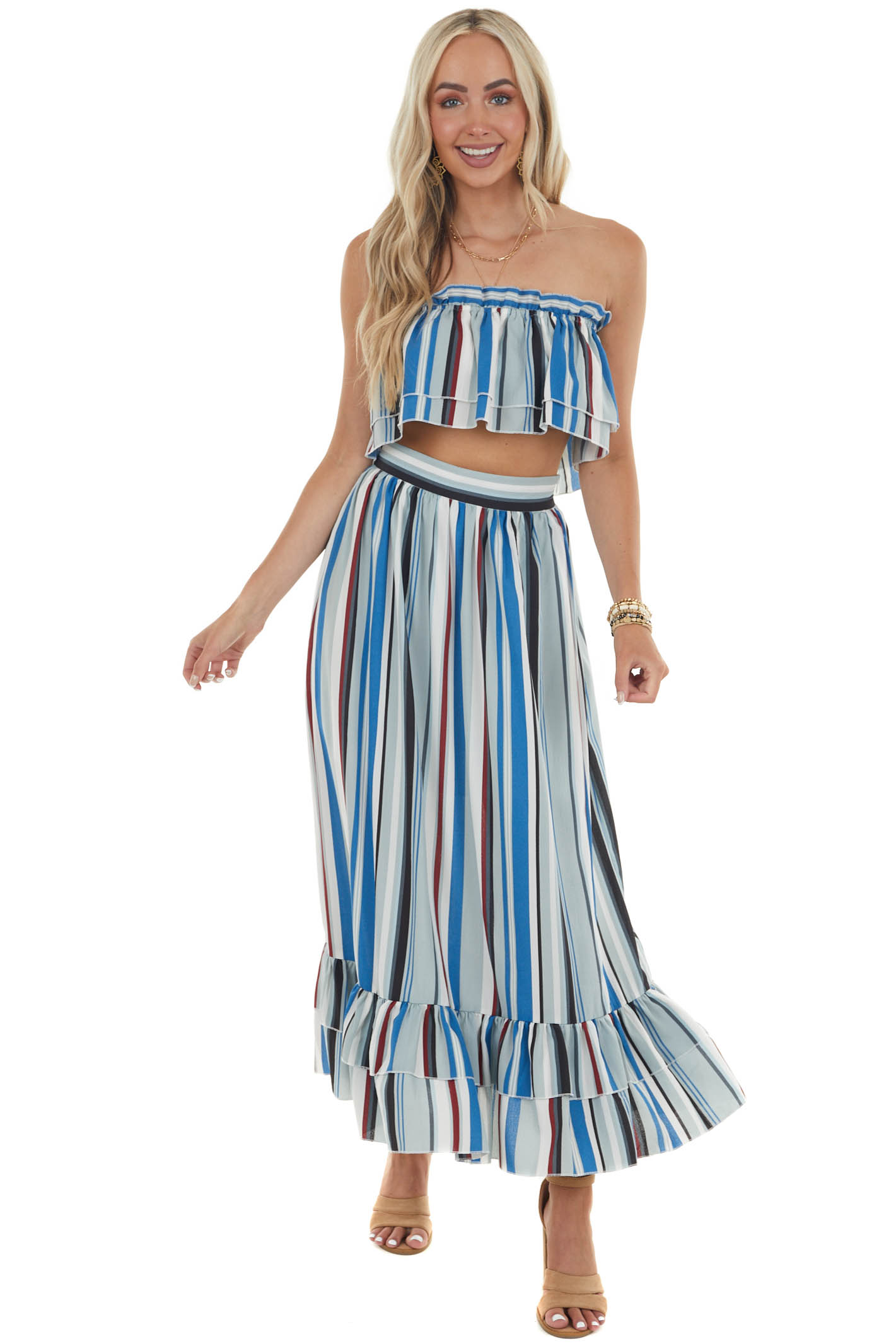 Multicolor Striped Crop Top and Maxi Skirt Set