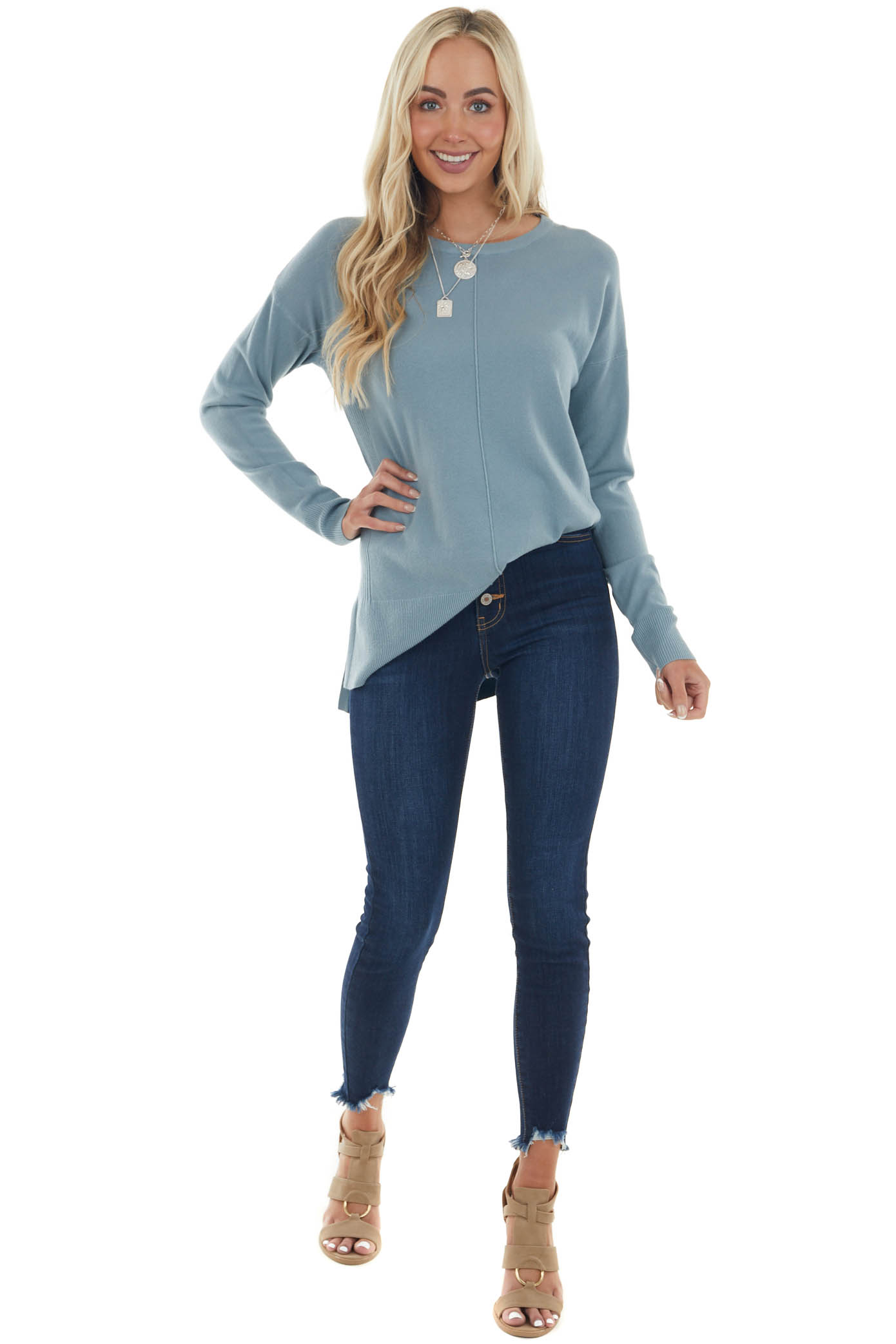 Dusty Blue Super Soft Ribbed Knit Sweater