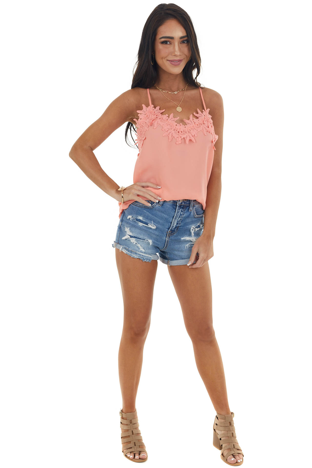Coral Lace Cami Woven Tank Top